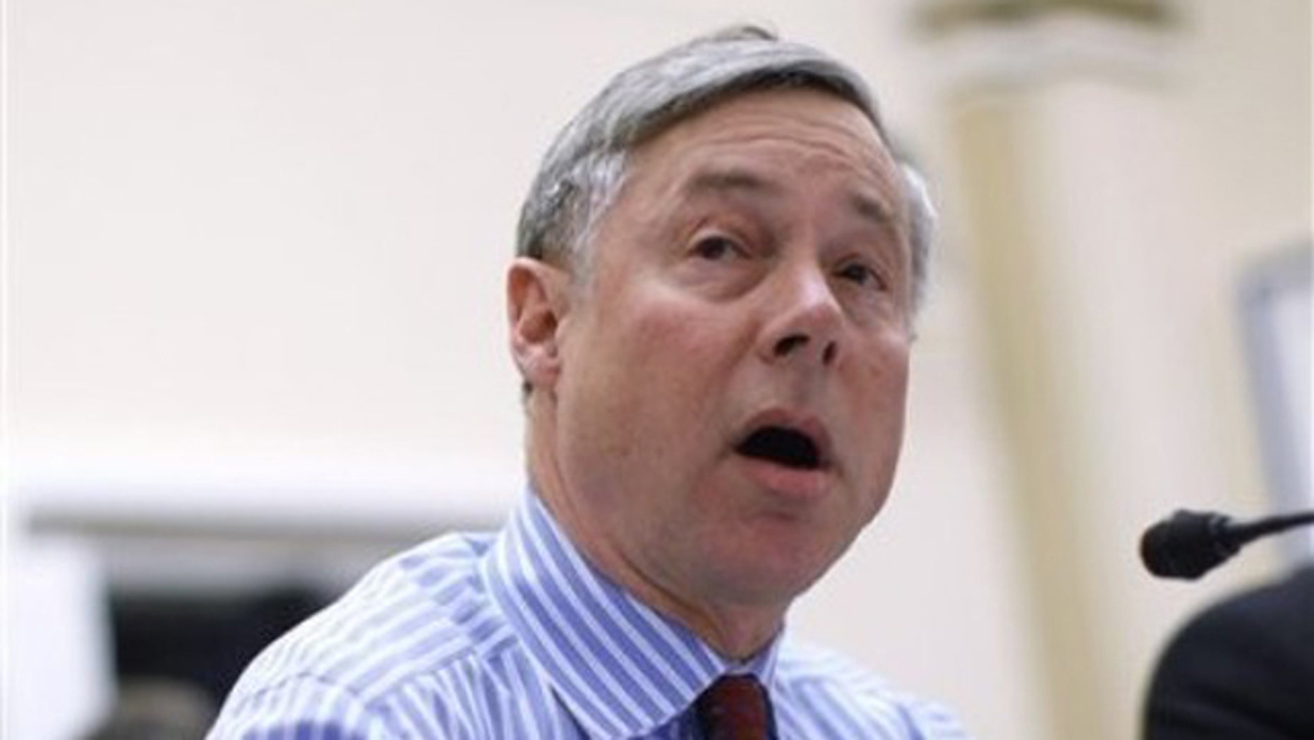 Rep. Fred Upton testifies on Capitol Hill in Washington Jan. 6 at a House Rules Committee meeting.