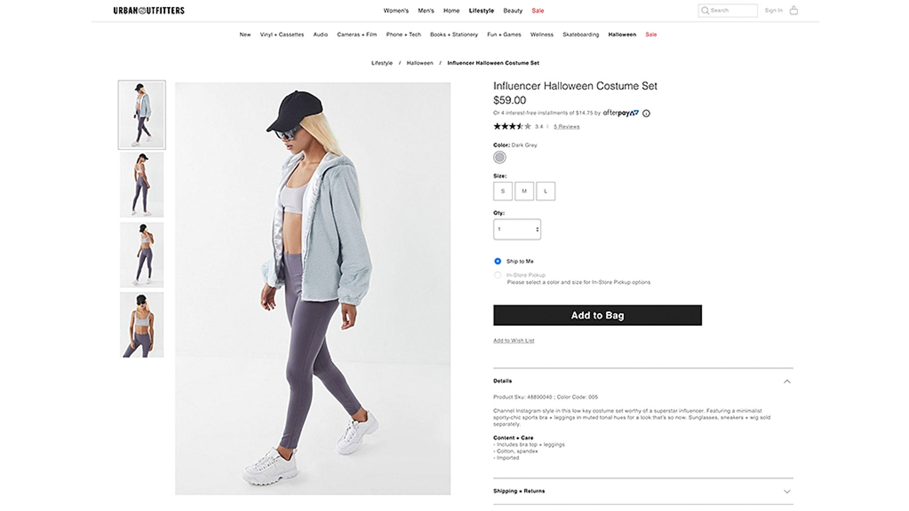 urban outfitters selling 'influencer' halloween costume that's just
