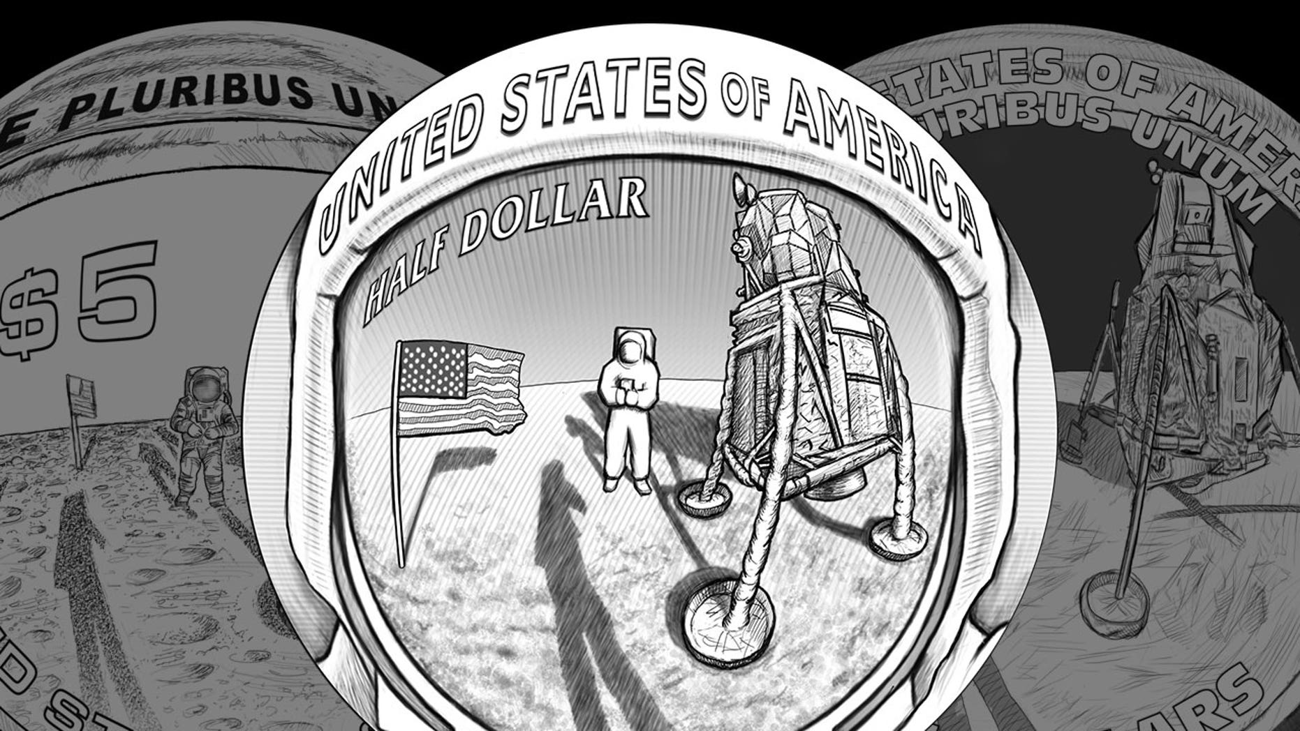 The U.S. Mint has revealed its three designs for the reverse or tails side of its 2019 curved coins commemorating the 50th anniversary of the Apollo 11 moon landing. The central design above (R-03) is preferred by NASA and the Commission of Fine Arts.