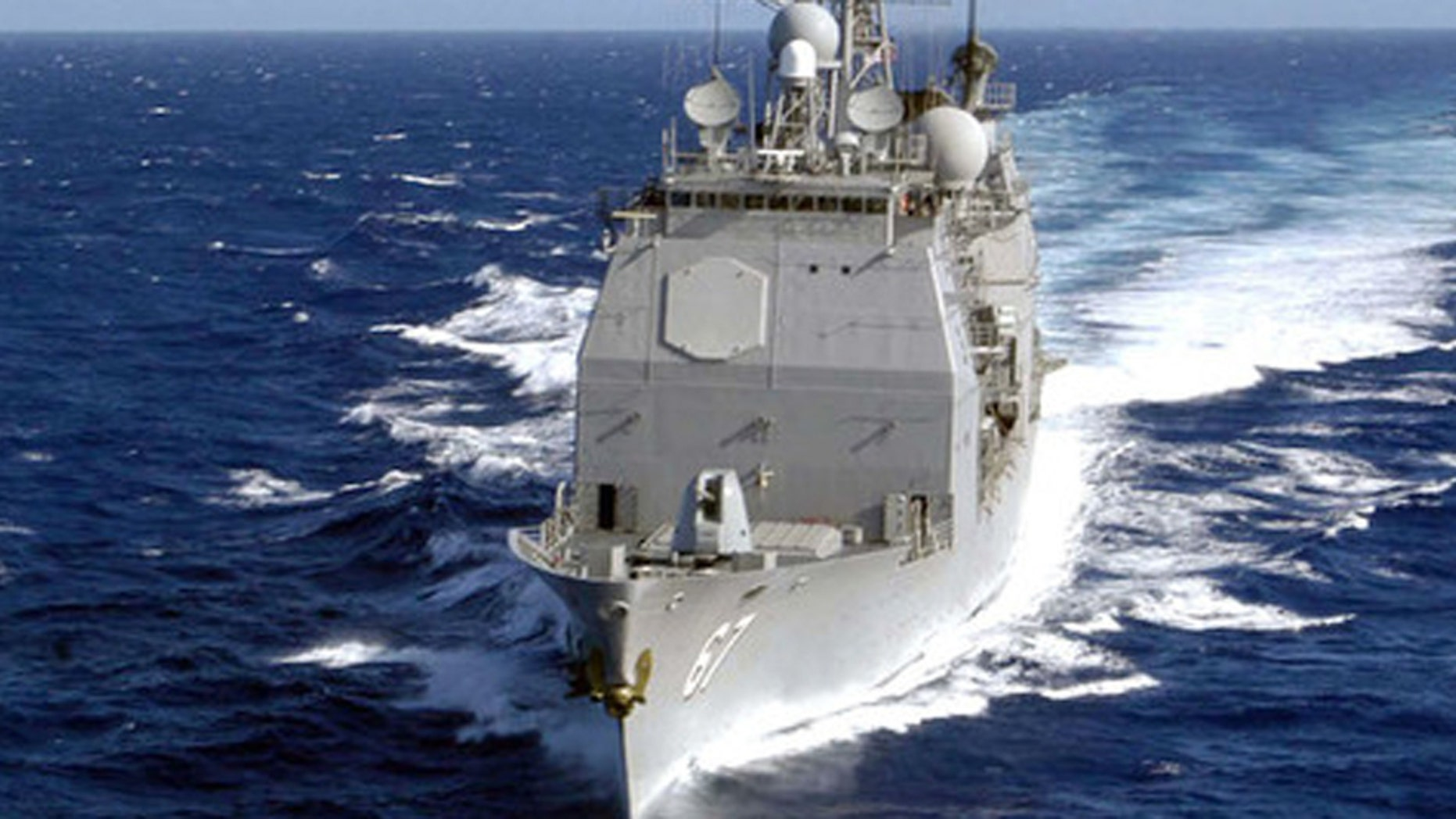 File photo: The USS Shiloh (CG-67) cruises through the waters of the South Pacific Ocean. (Credit: Getty Images)