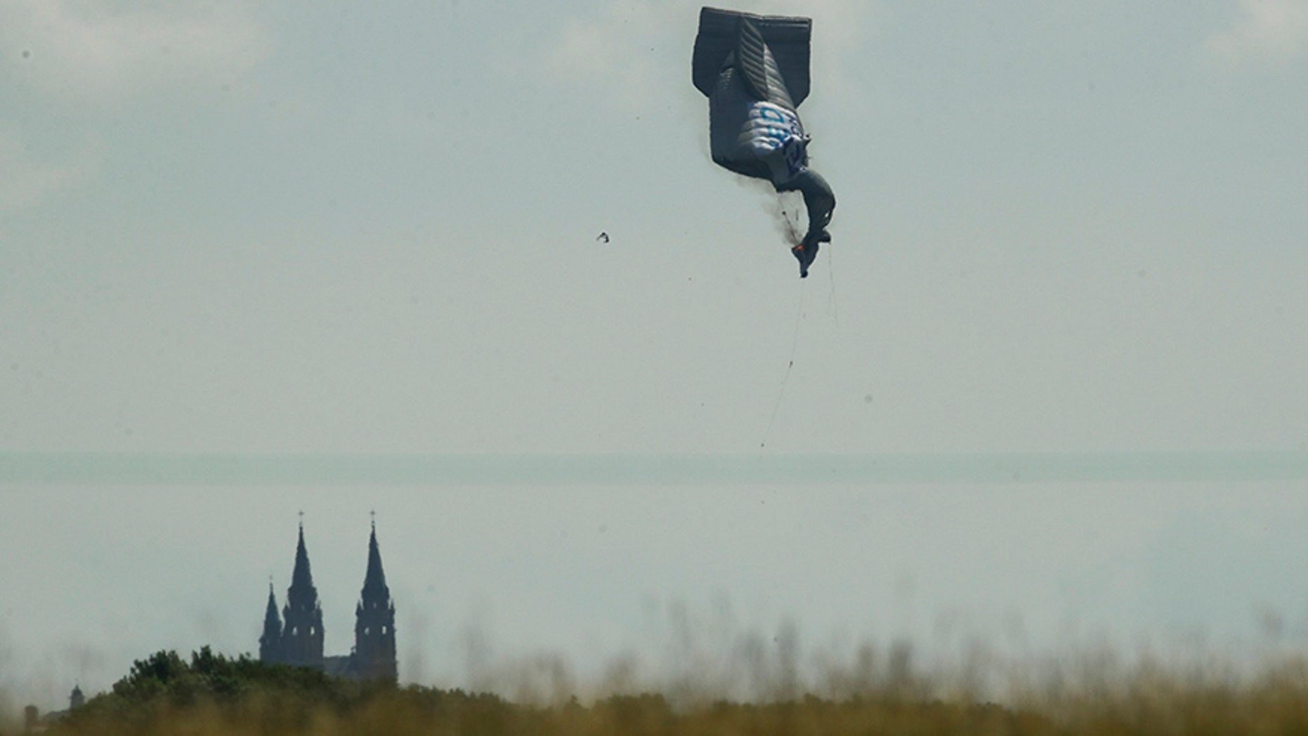 June 15, 2017: A blimp crashes during the first round of the U.S. Open golf tournament near Erin Hills in Erin, Wis.