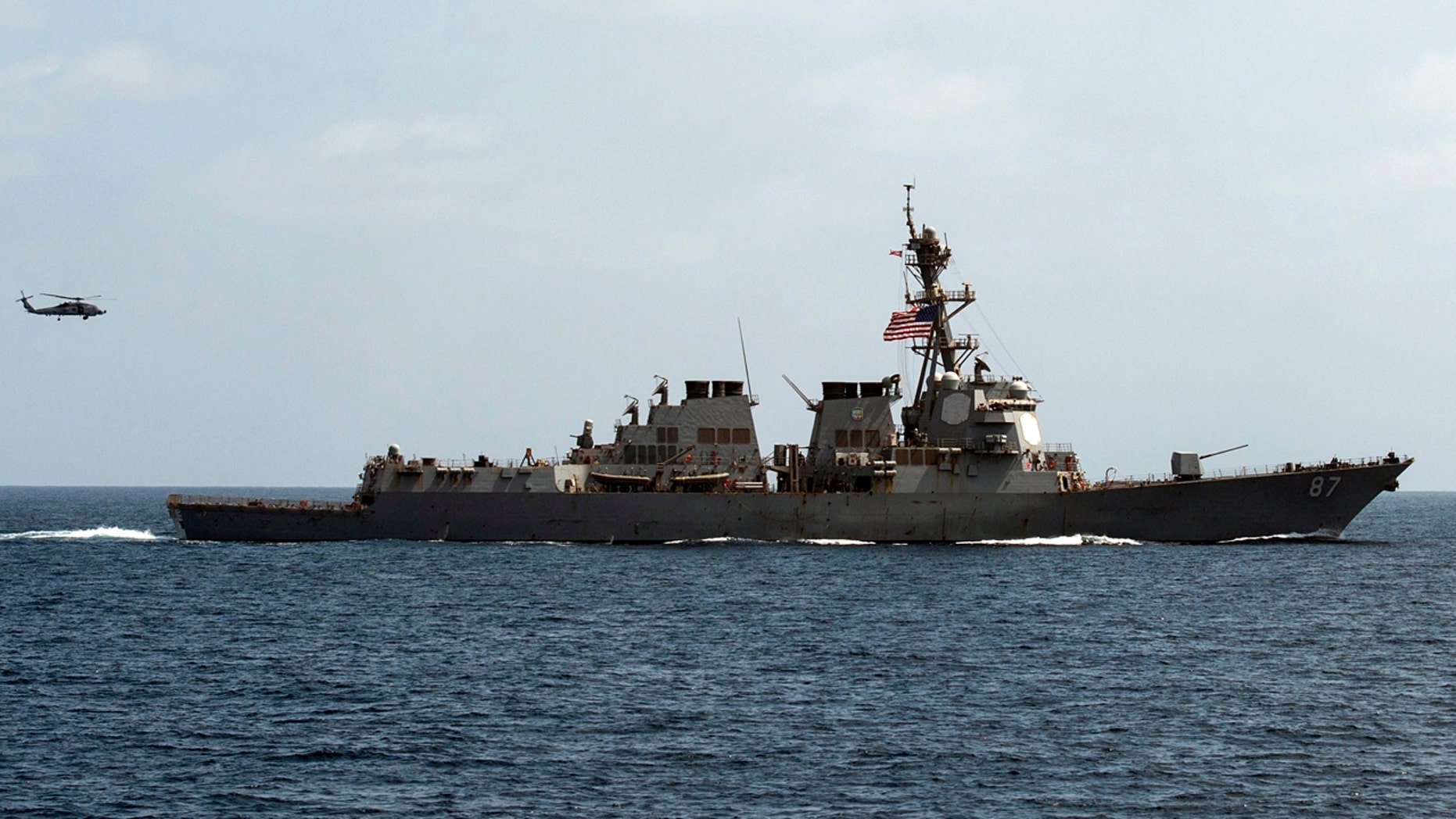 Sept. 10, 2016: The USS Mason conducts maneuvers as part of a exercise in the Gulf of Oman