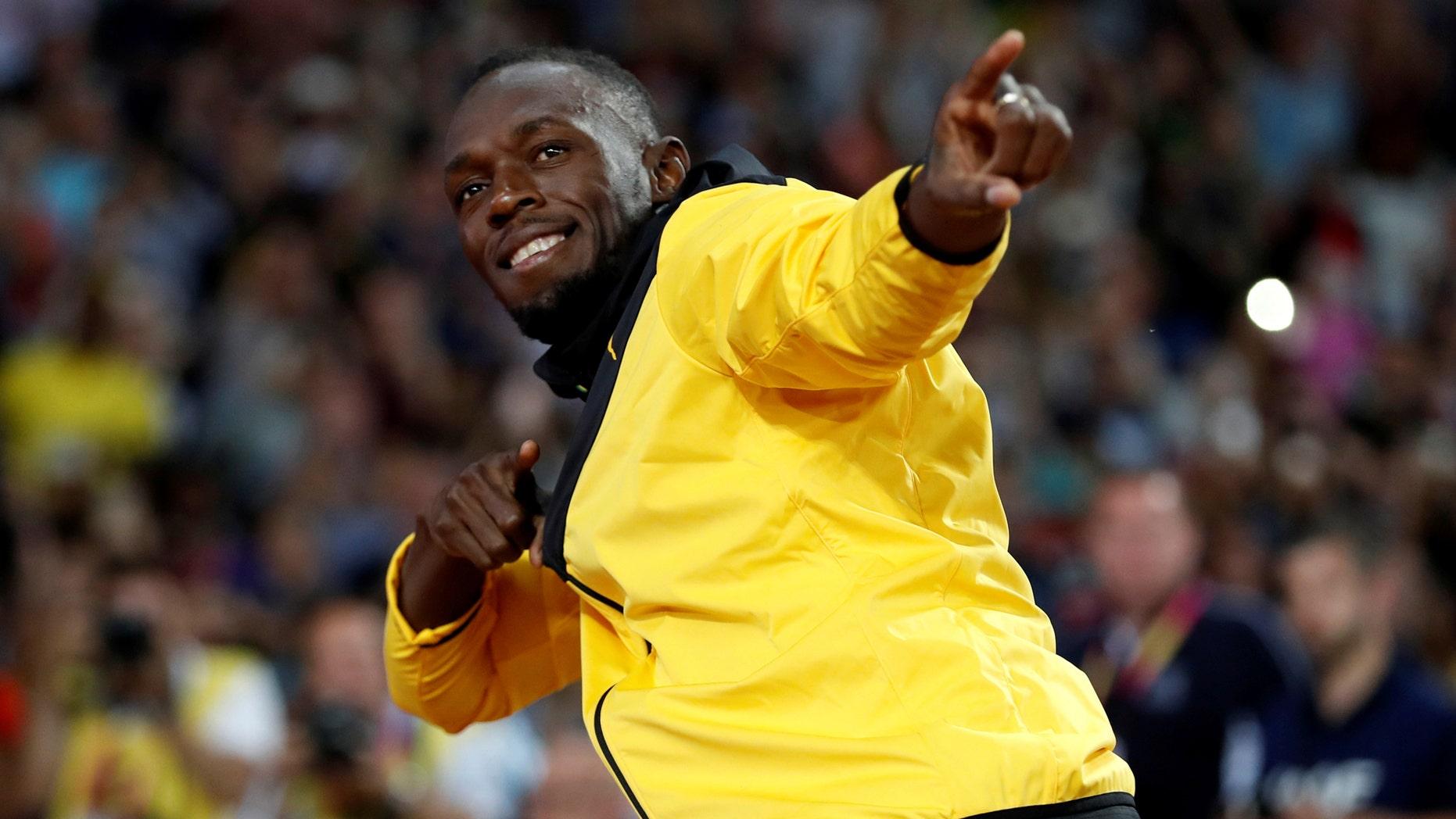 File photo - Athletics - World Athletics Championships – Usain Bolt's farewell ceremony – London Stadium, London, Britain – Aug. 13, 2017 – Usain Bolt of Jamaica gestures. (REUTERS/Phil Noble)