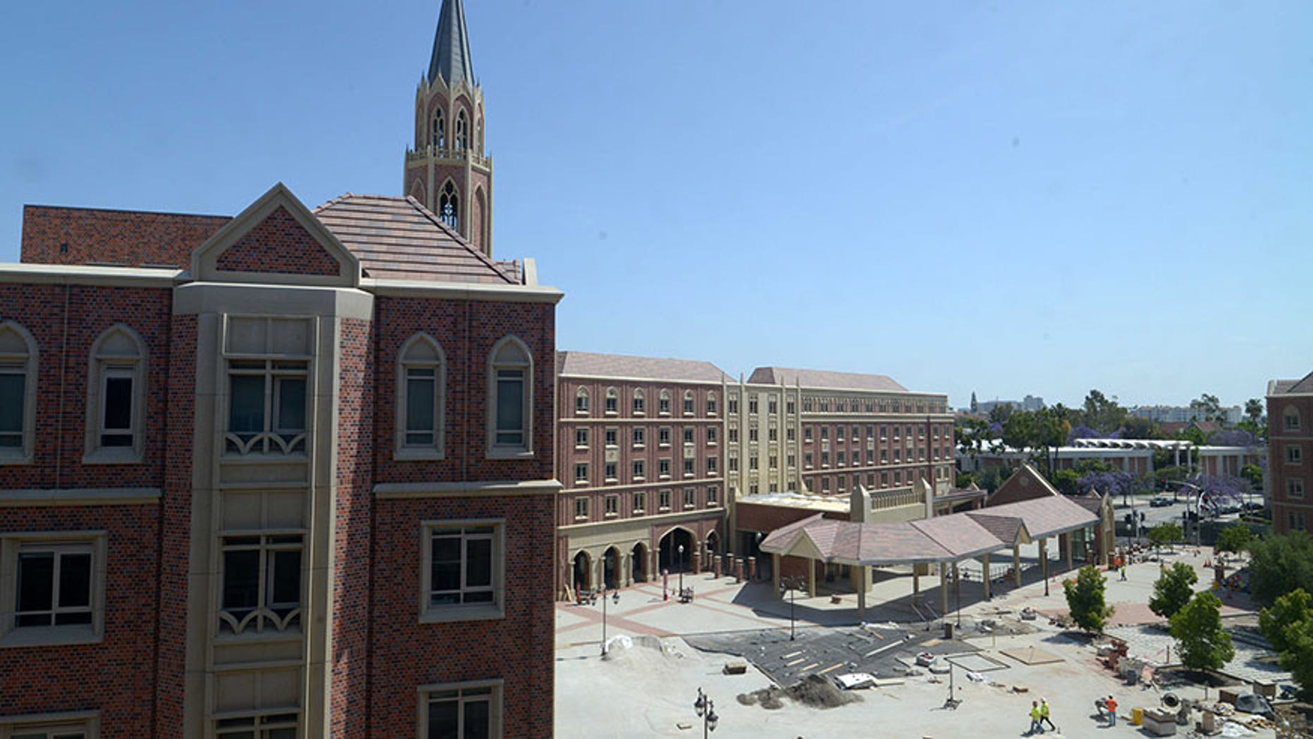 A general view of The University Village under construction on the campus of the University of Southern California is seen in this May 2017 photo. (USA Today Sports)
