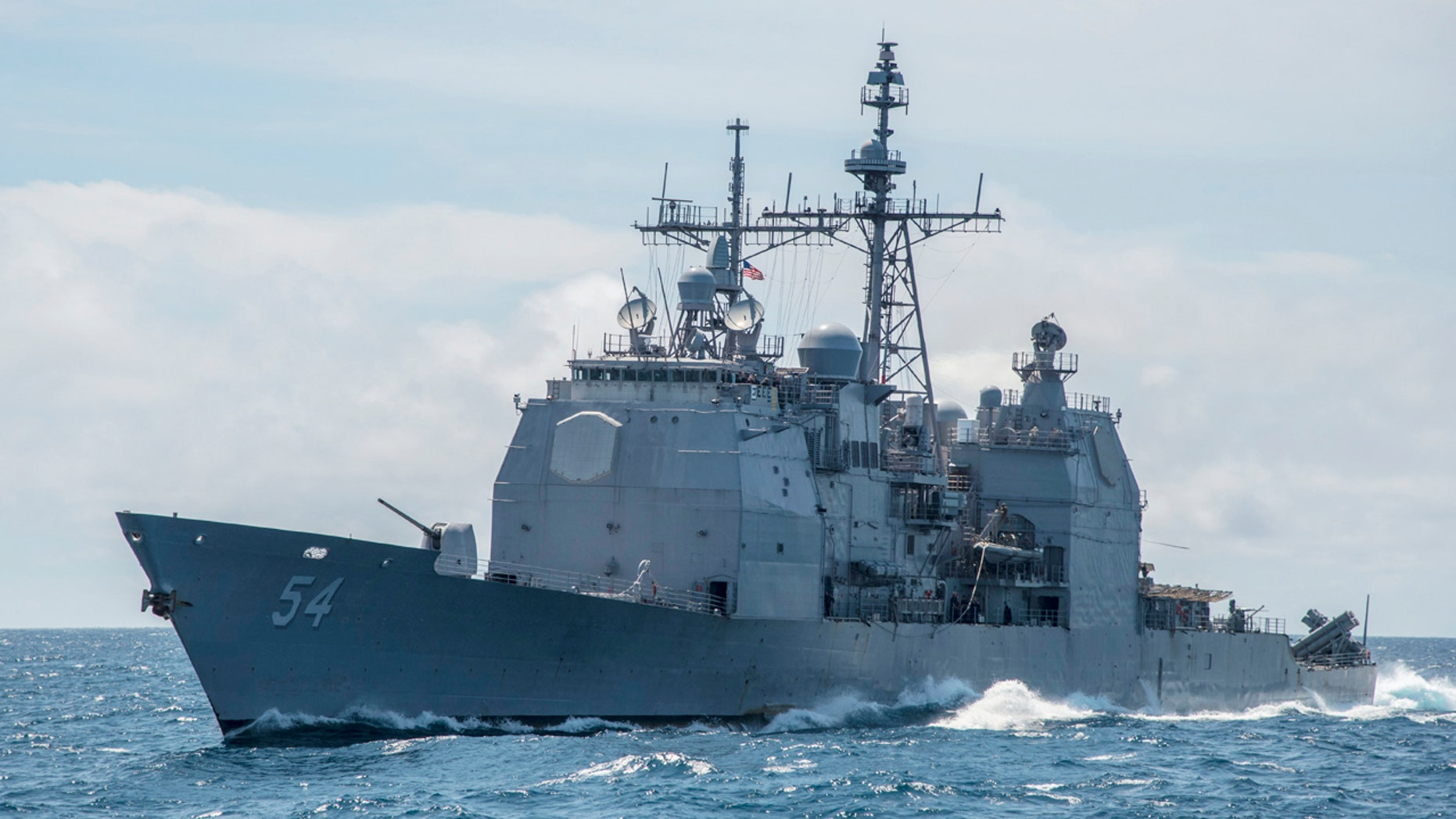 This Mar. 6, 2016, file photo provided by the U.S. Navy, shows the Ticonderoga-class guided-missile cruiser USS Antietam (CG 54) sails in the South China Sea.