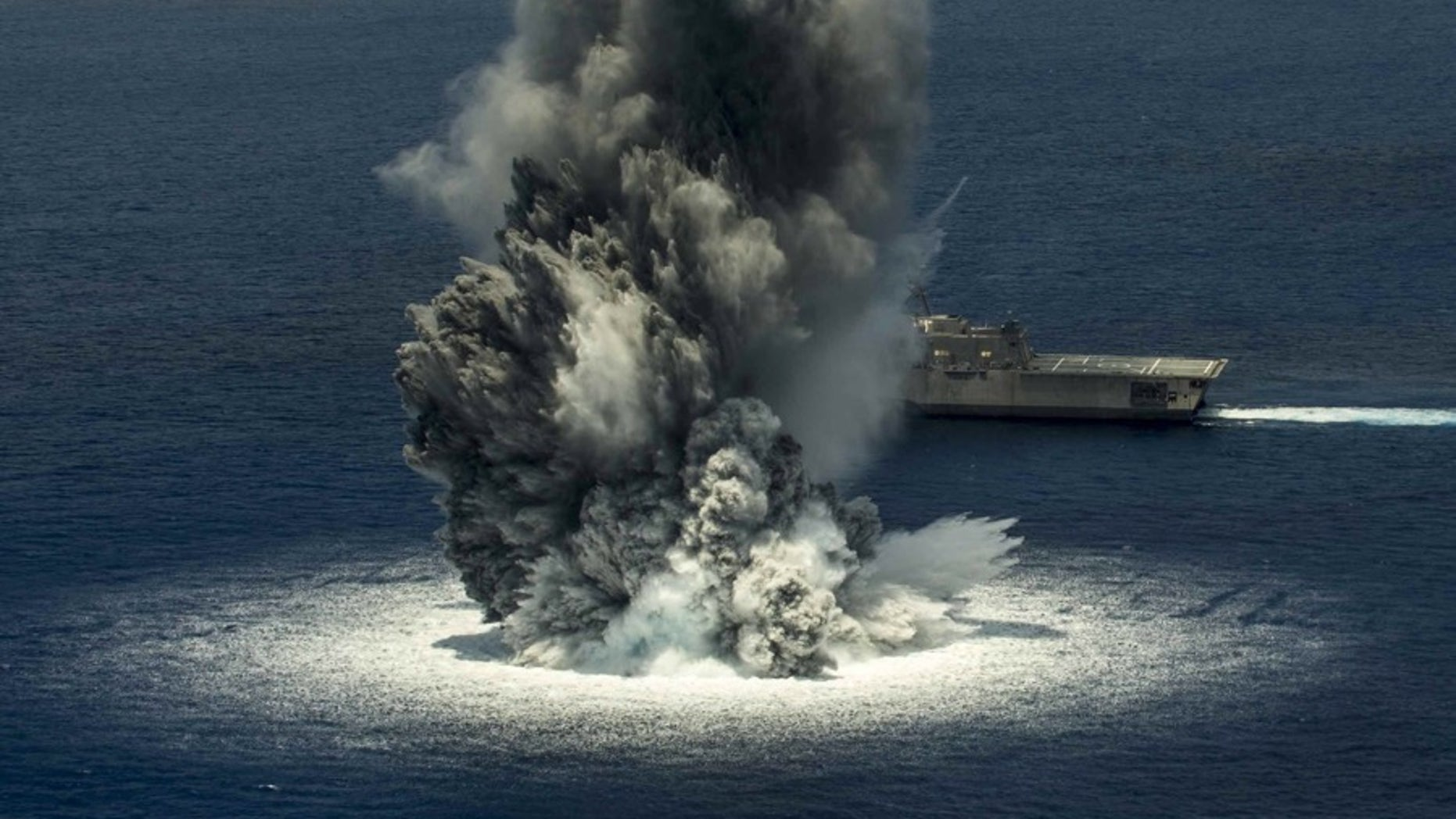 The combat ship, USS Jackson, completed its first of three scheduled shock trials in order to test the ship's ability to withstand the effects of nearby underwater explosion. Apparently, another shock test registered