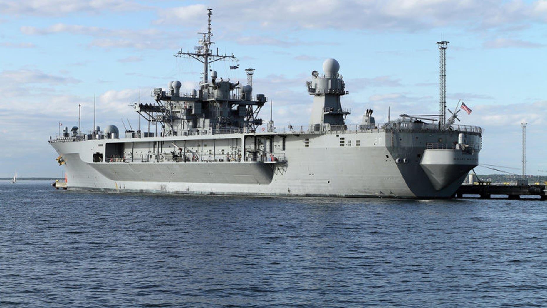 USS Mount Whitney at the port of Tallinn, Estonia on June 5.