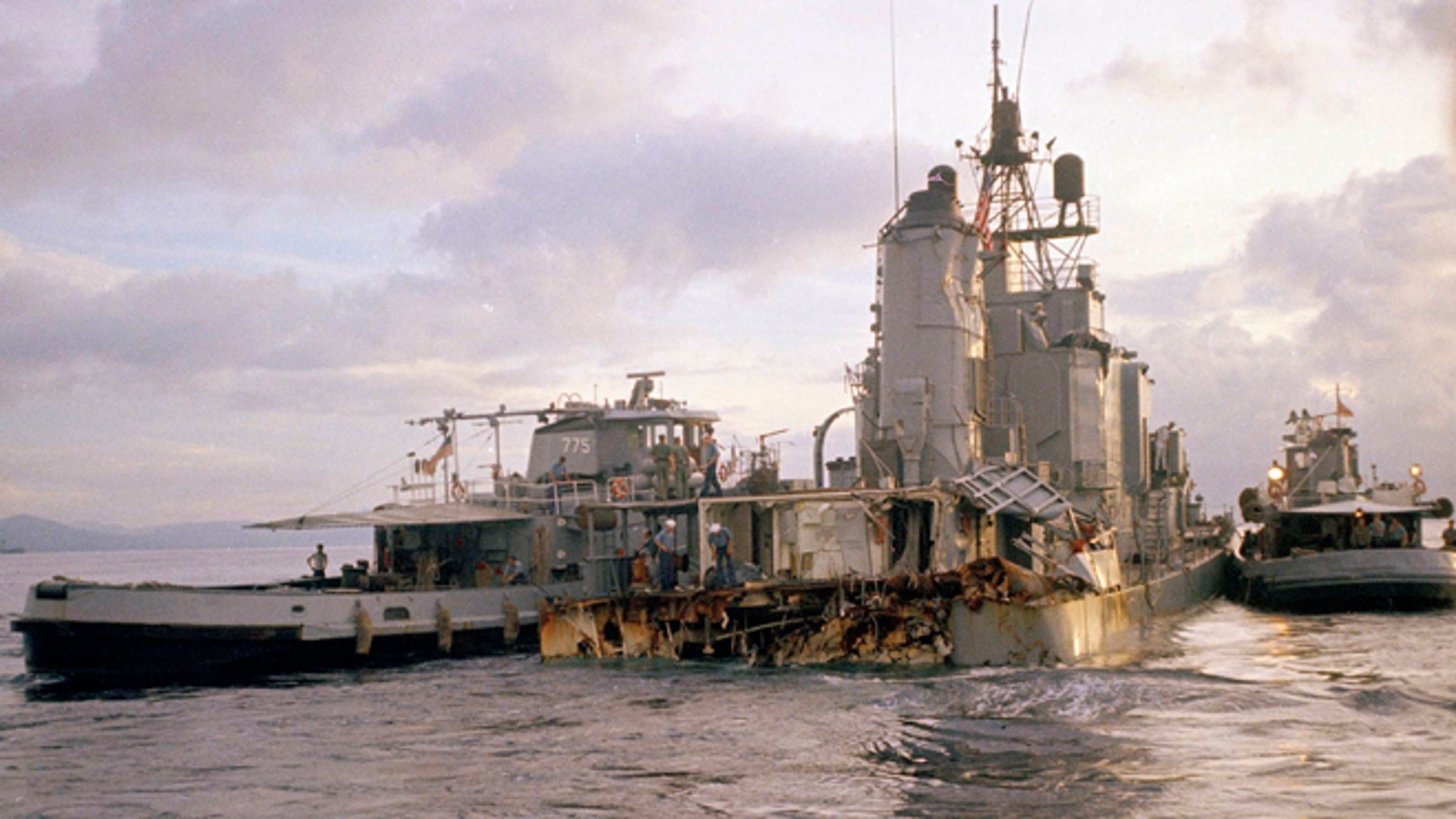Sailors inspect damage to the USS Frank E. Evans on June 3, 1969.