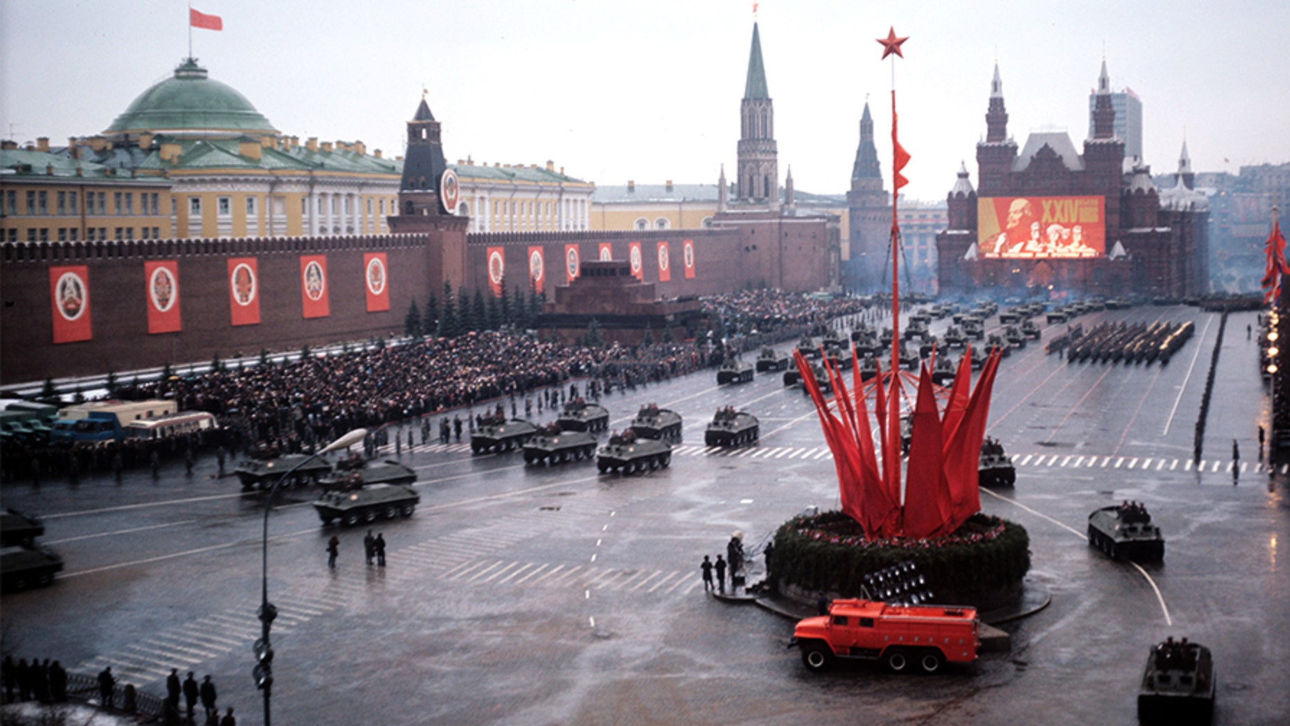 Nov. 7, 1973: A military parade on Red Square held in celebration of the 56th anniversary of Russia's 1917 socialist revolution.