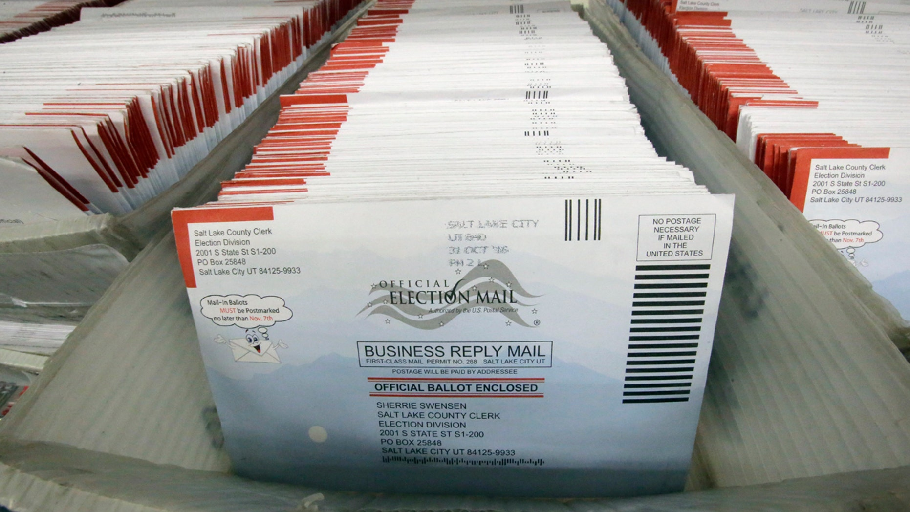 Mail-in ballots for the 2016 General Election are shown at the elections ballot center at the Salt Lake County Government Center Tuesday, Nov. 1, 2016, in Salt Lake City.