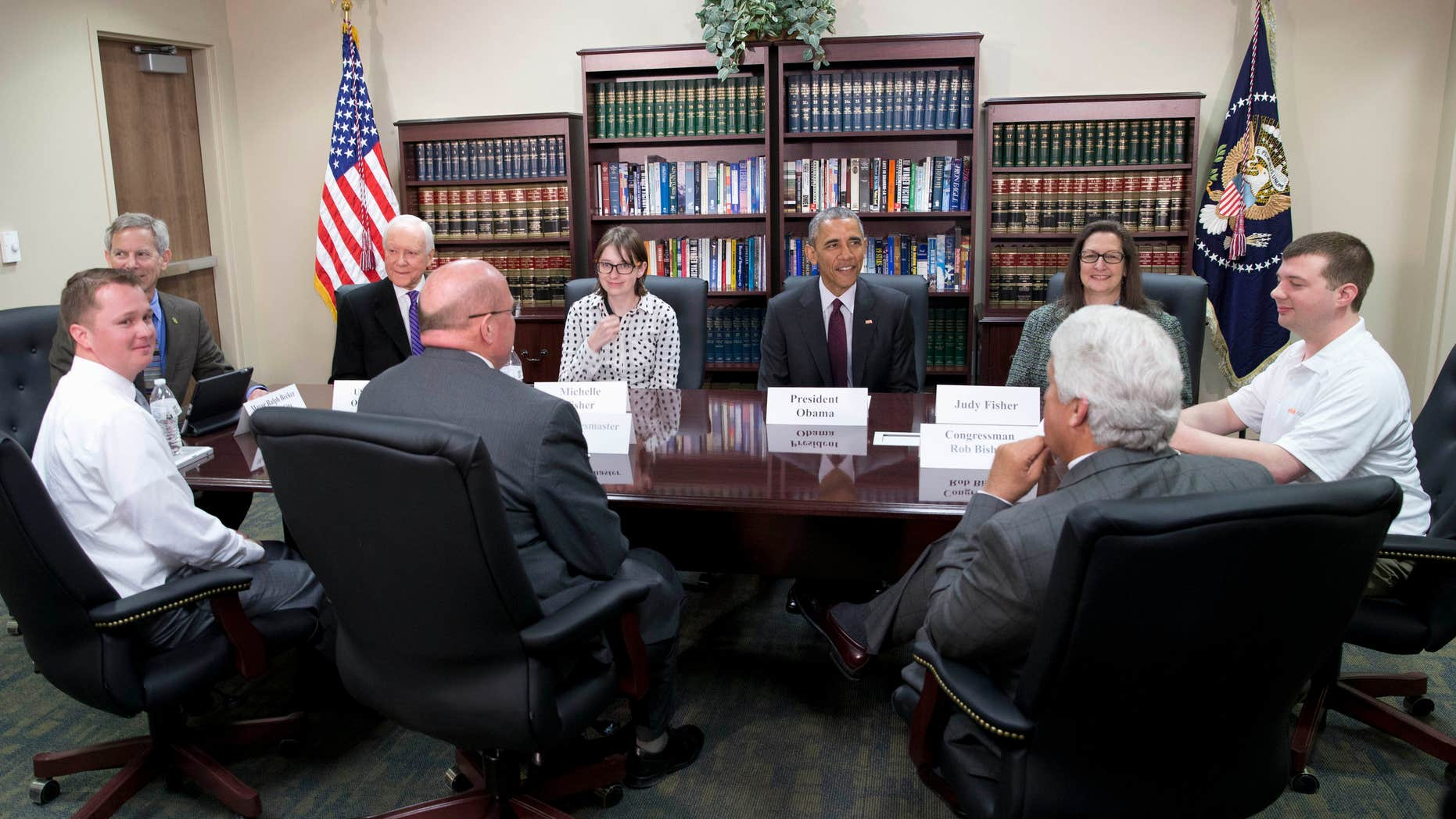 April 3, 2015: President Barack Obama participates in a roundtable about clean energy at Hill Air Force Base, Utah.