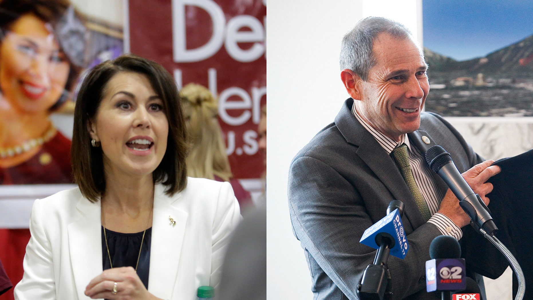 Sen. Deidre Henderson (left) speaks during the Utah GOP Convention, in Sandy, Utah in this May 20, 2017 photo. Provo Mayor John Curtis (right) speaks during a news conference in Provo, Utah in this April 29, 2014