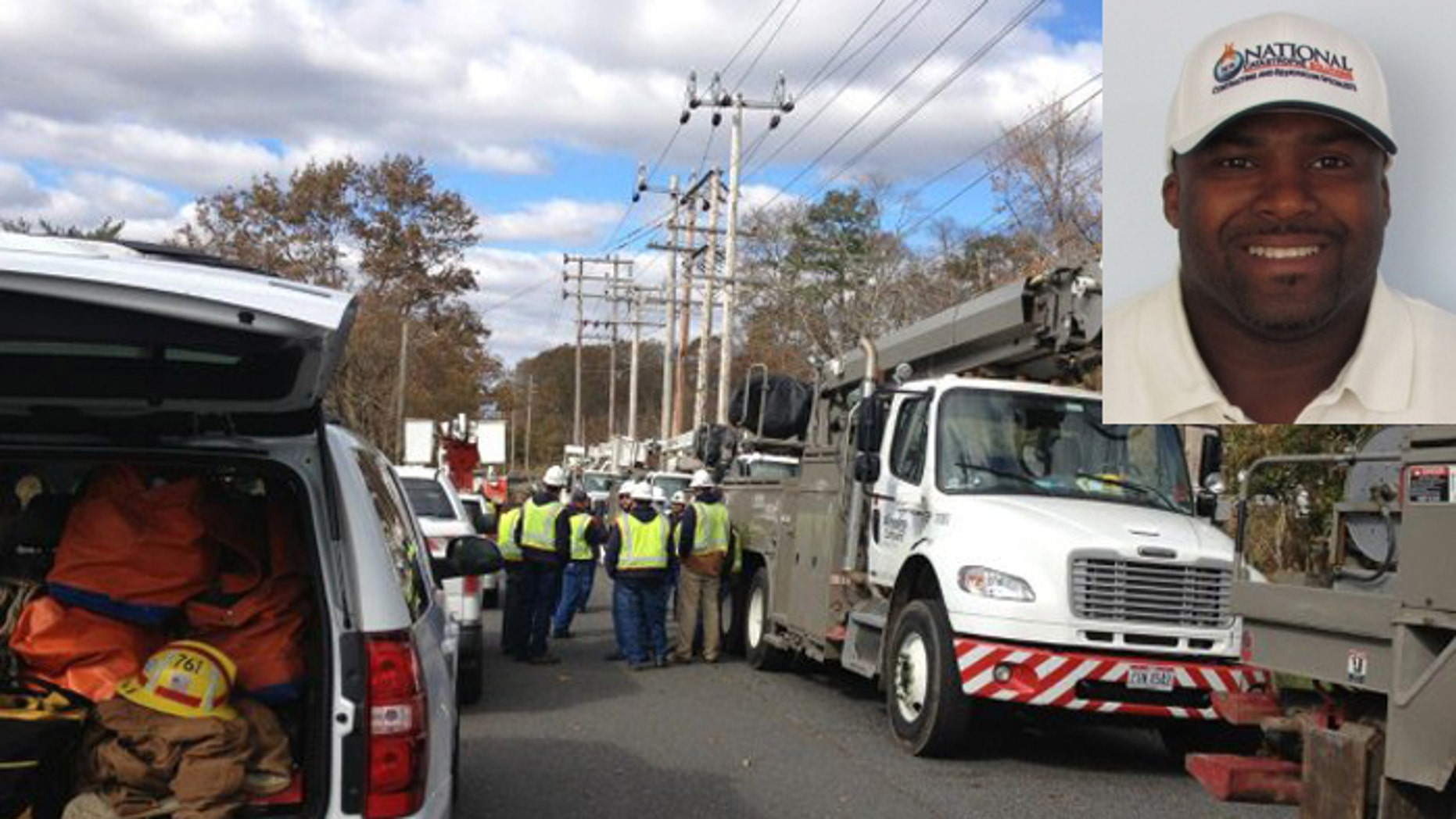 Crews like the one above, from Clark Public Utilities, in Columbia, Wash., came to help beleaguered northeasterners get their power back. An John Turner, who came from Chicago to help, left $100,000 richer. (AP/John Turner)