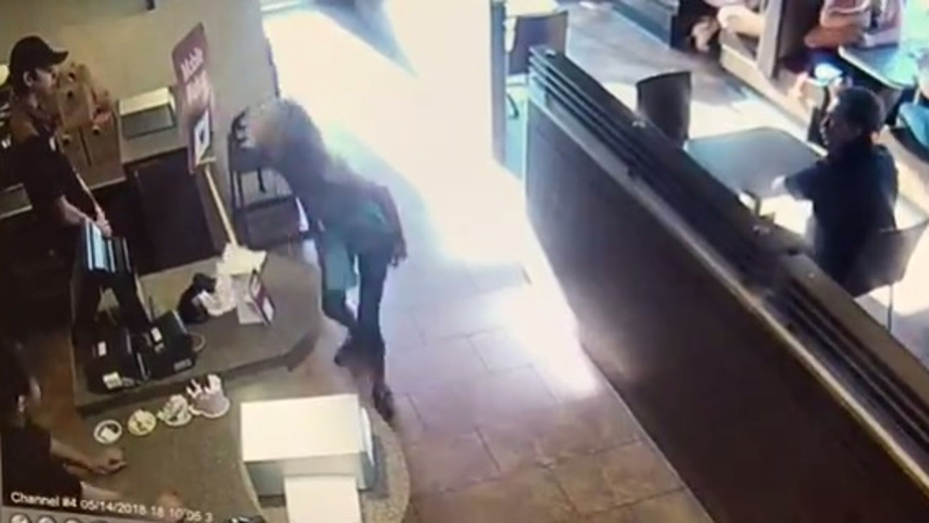 A woman apparently defecated on the floor of a Tim Hortons and threw the byproduct at a staffer on Monday.