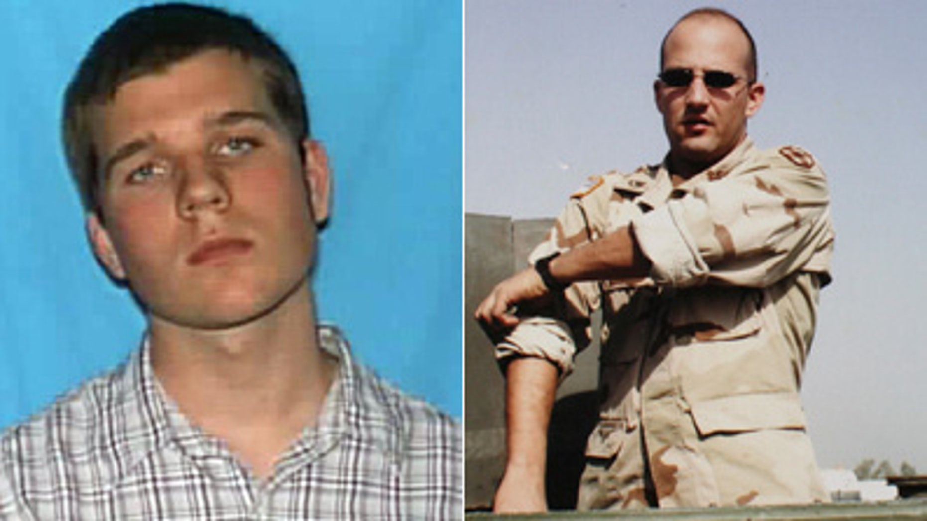 Ross Truett Ashley, age 22, left, was identified by police as the Virginia Tech gunman. Officer Deriek  W. Crouse, who was allegedly killed by Ashley on Friday Dec. 9, 2011, is seen at right during his 2003-2004 military tour in Iraq.