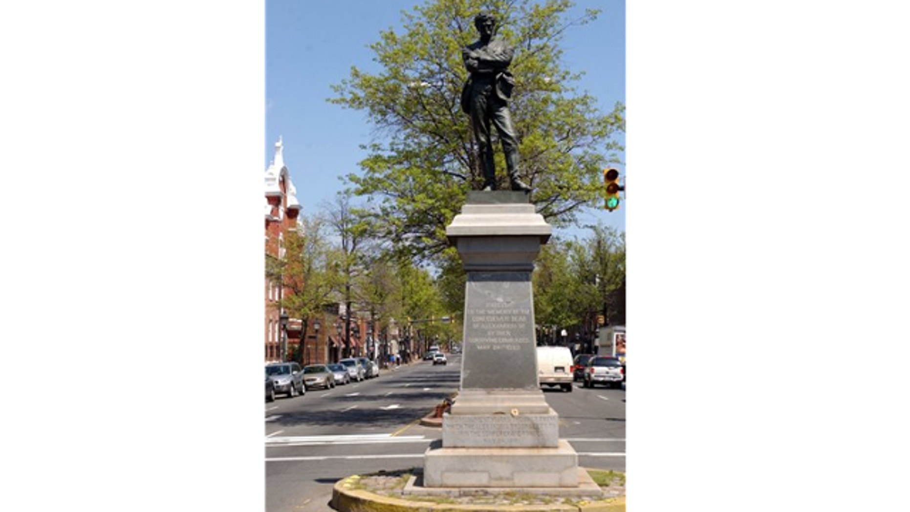 FILE: April 23, 2003: This photo shows a statue of a Confederate soldier at an intersection in Alexandria, Va. The city is looking to modernize its laws by removing a provision that requires new north-south streets to be named for Confederate generals.