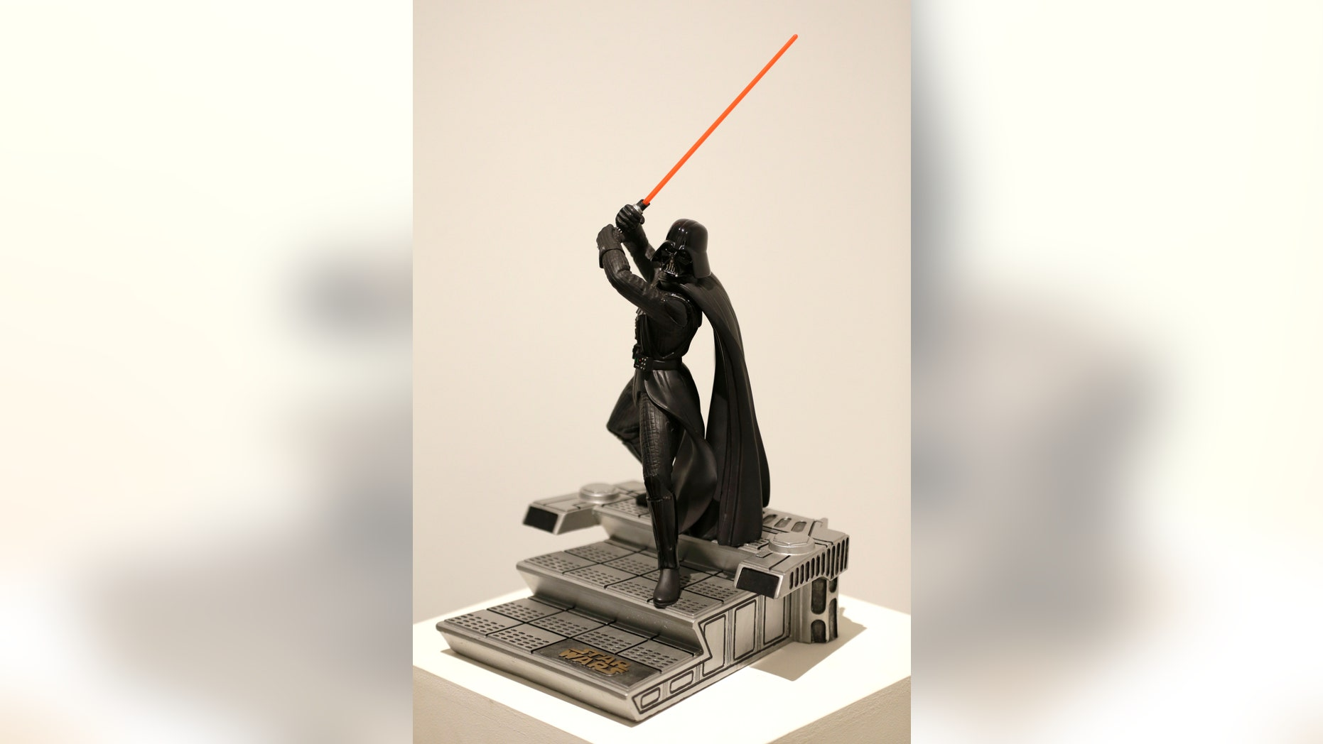 "Dec. 2, 2015. A statue of Darth Vader from the ""Star Wars"" movie series displayed during a press preview at Sotheby's in New York."