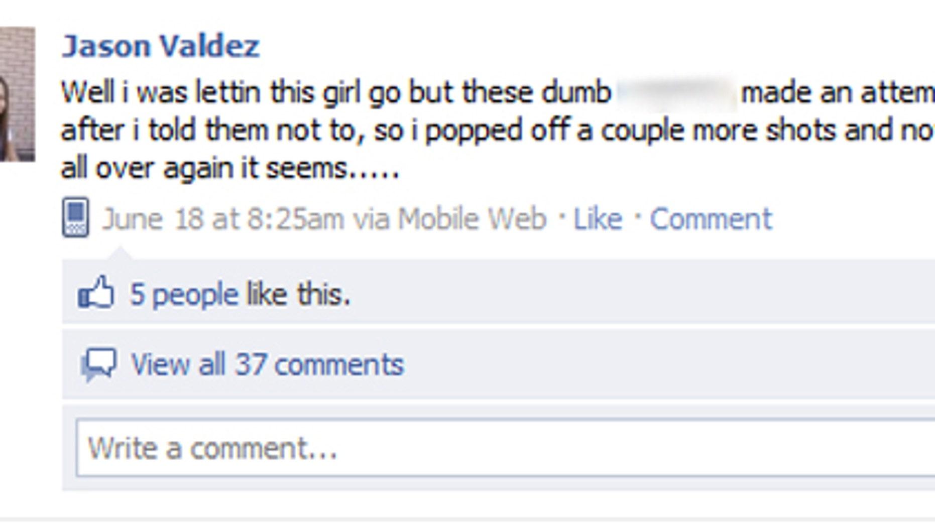 June 18: Jason Valdez's Facebook update