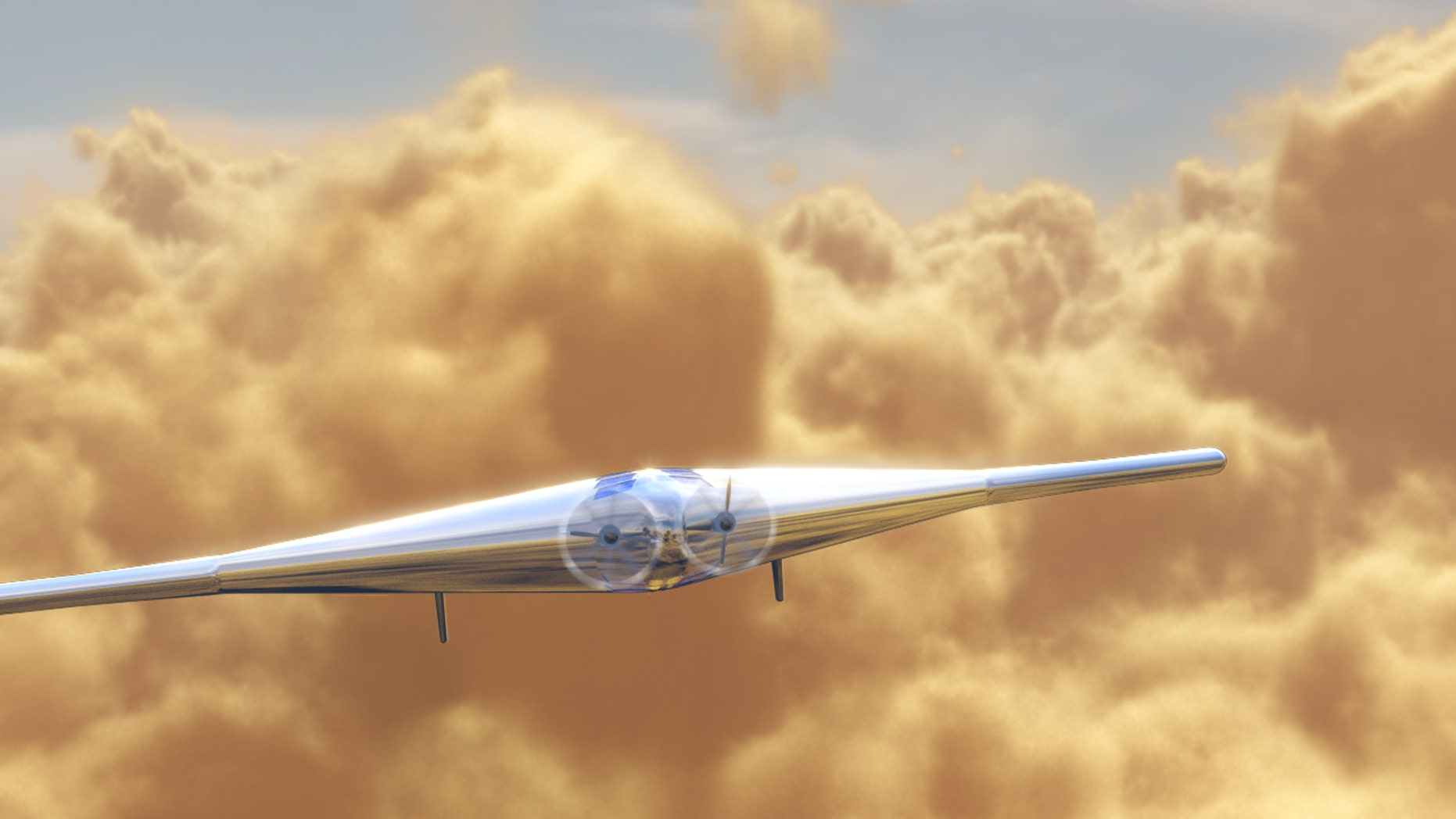 An artist's impression of the uncrewed Venus Atmospheric Maneuverable Platform (VAMP) flying through Venus' clouds.