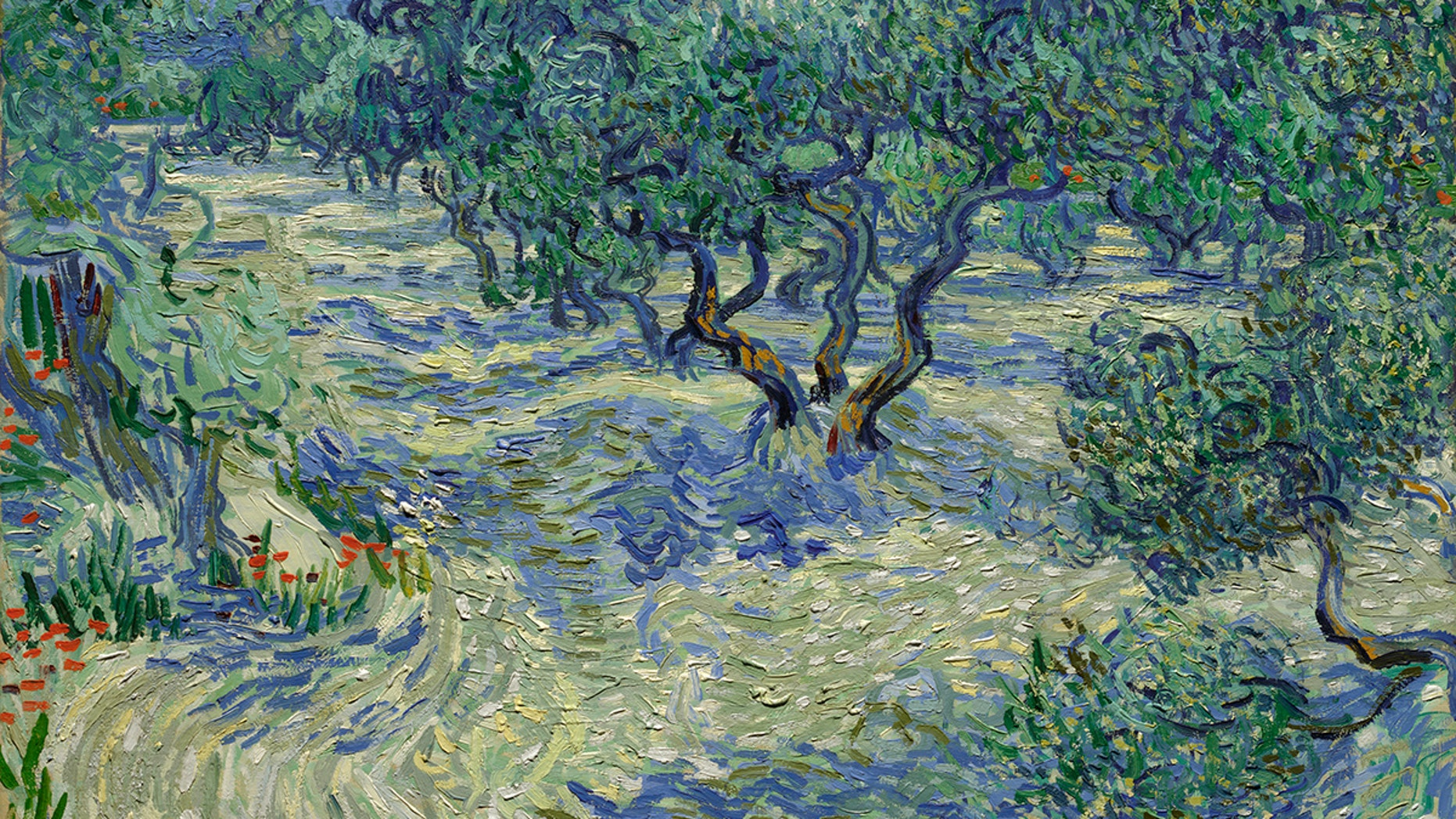 """You can't see the grasshopper in this image of Vincent van Gogh's """"Olive Trees,"""" but it's there."""