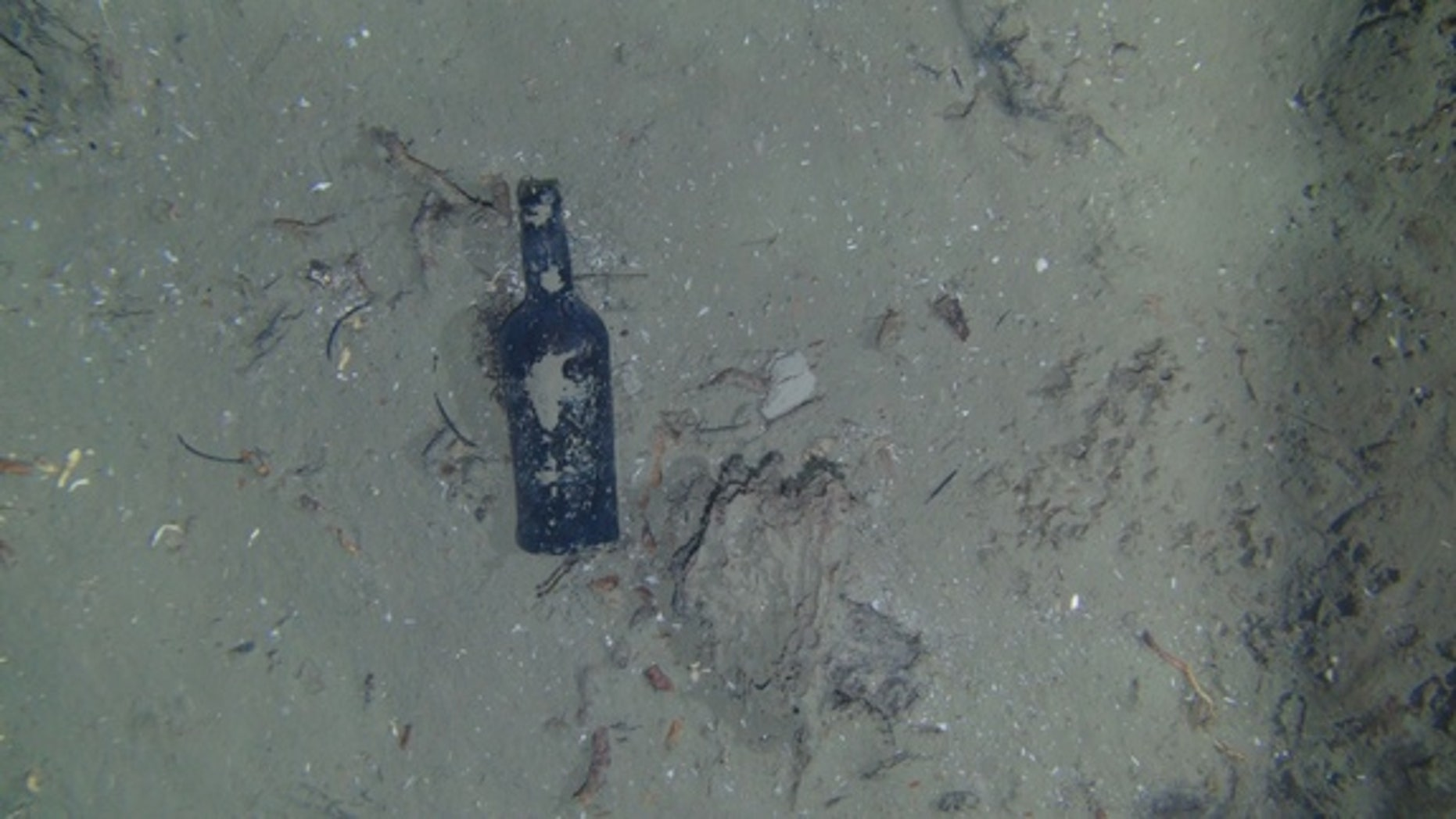 One of nine glass bottles observed at the site of the centuries-old shipwreck off the North Carolina coast.