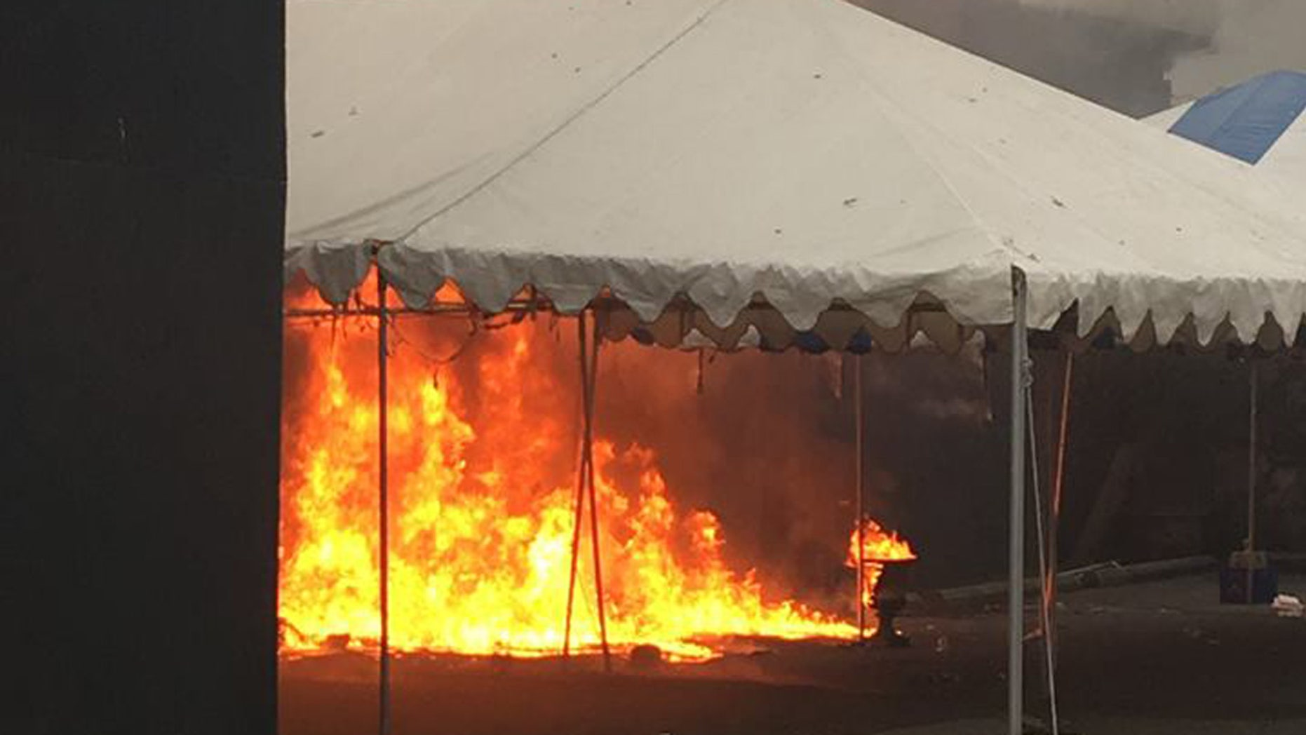 A fire started in a porta-potty damaged a warehouse site operated by Vancouver Art and Leisure.