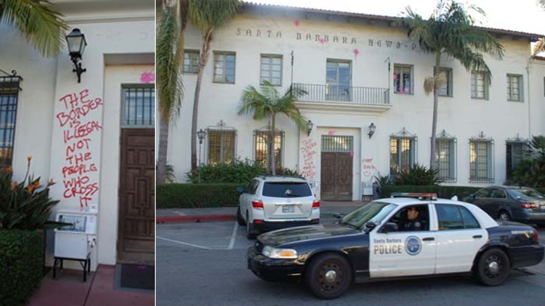The headquarters of the Santa Barbara News-Press in California was vandalized, apparently by pro-illegal immigration activists.