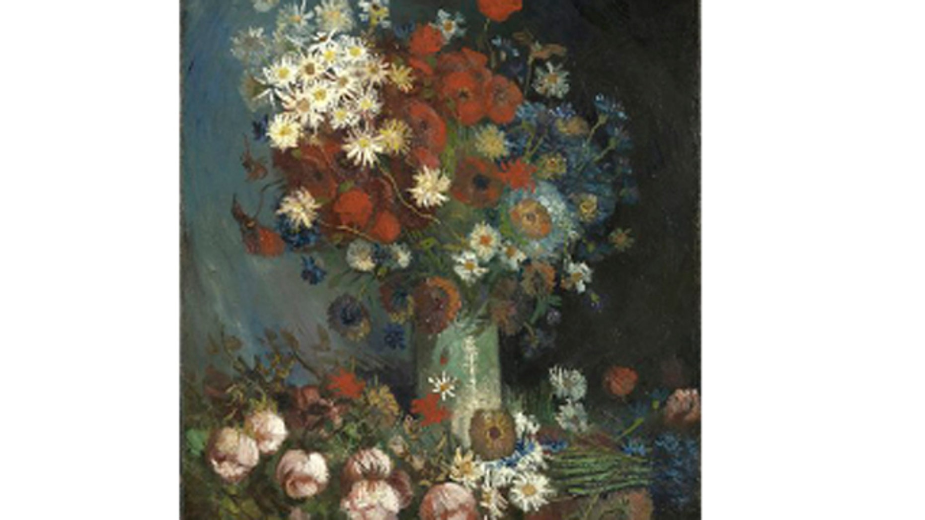 """March 20, 2012: This photo provided by the Kroeller Mueller Museum in Otterlo, Netherlands shows a painting entitled """"Still life with meadow flowers and roses"""" by Vincent van Gogh."""
