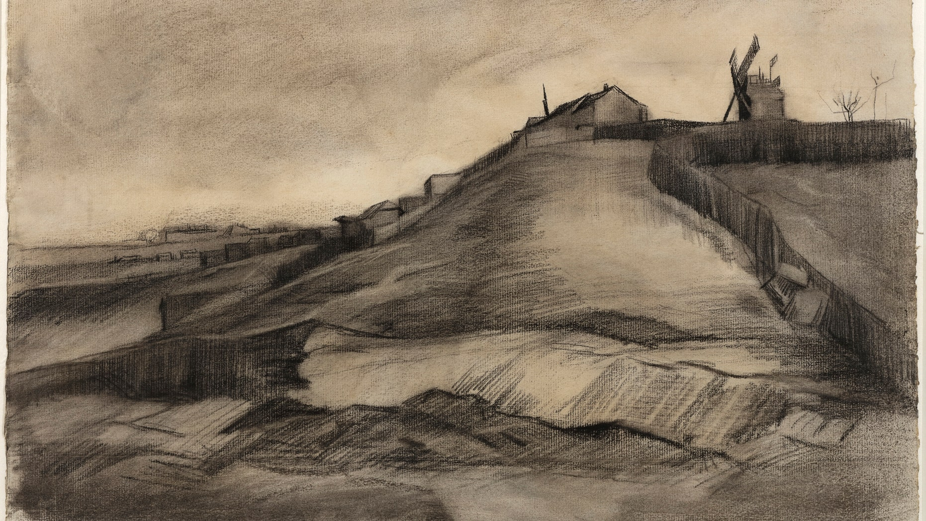This image released by Van Vlissingen Art Foundation and the Van Gogh Museum on Tuesday Jan. 16, 2018 shows a drawing by Vincent van Gogh titled The Hill of Montmartre with Stone Quarry, dating to March 1886. The discovery has been confirmed following extensive research conducted by the Van Gogh Museum into the subject, style, technique, materials and provenance of the until now, unknown drawing in the collection of the Van Vlissingen Art Foundation. (Van Vlissingen Art Foundation via AP)