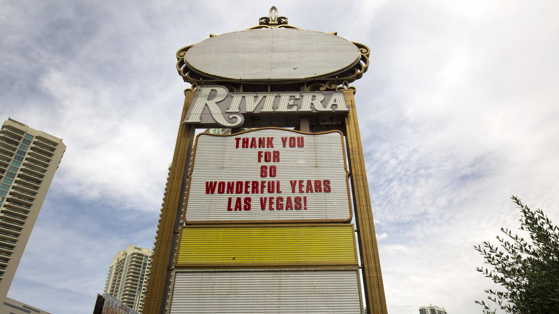 The Riviera sign in May 2015.