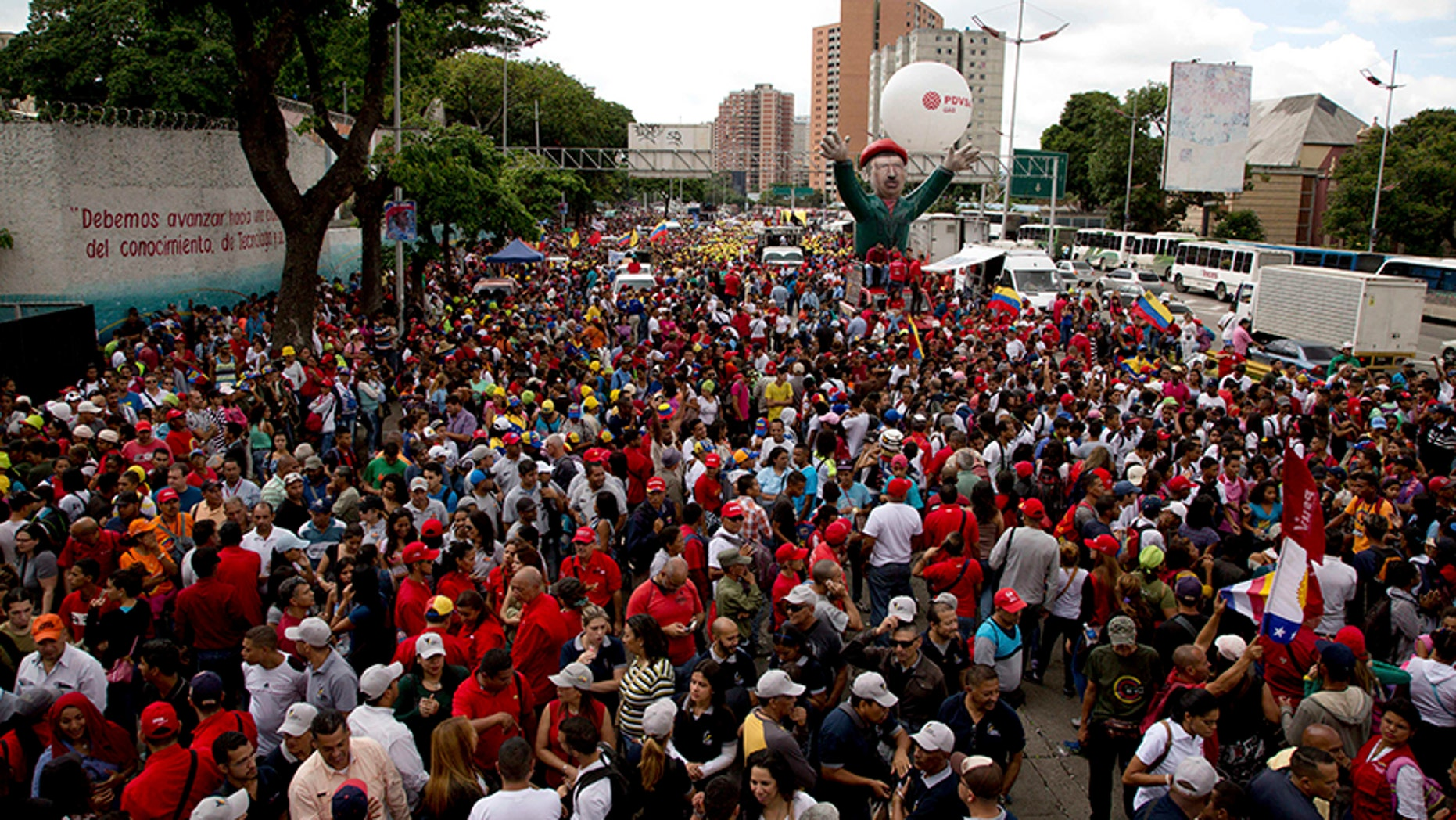 Supporters of Venezuela's President Nicolas Maduro prepare for a march.