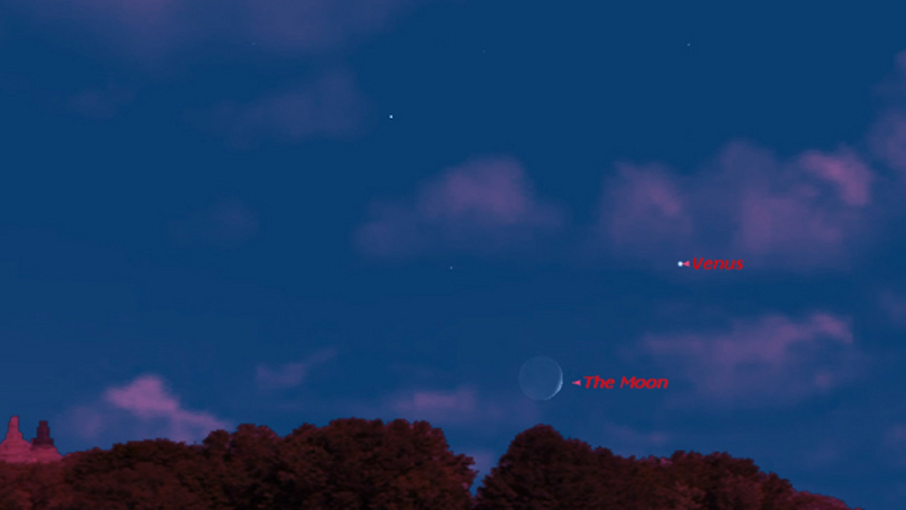 This sky map shows the locations of Venus and the moon on July 10, 2013, in the western sky as they appear to observers in mid-northern latitudes, weather permitting.