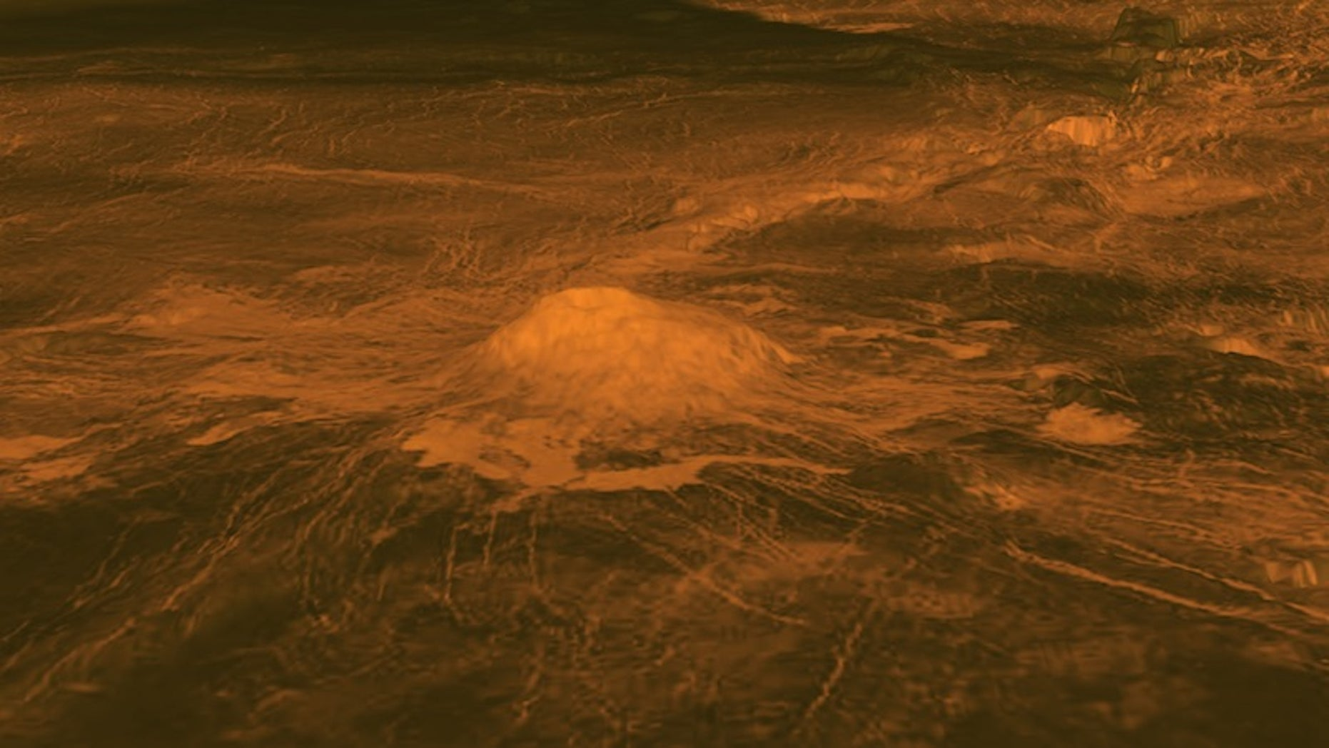 An elevation model of the volcano Idunn Mons, located at Imdr Regio on Venus.