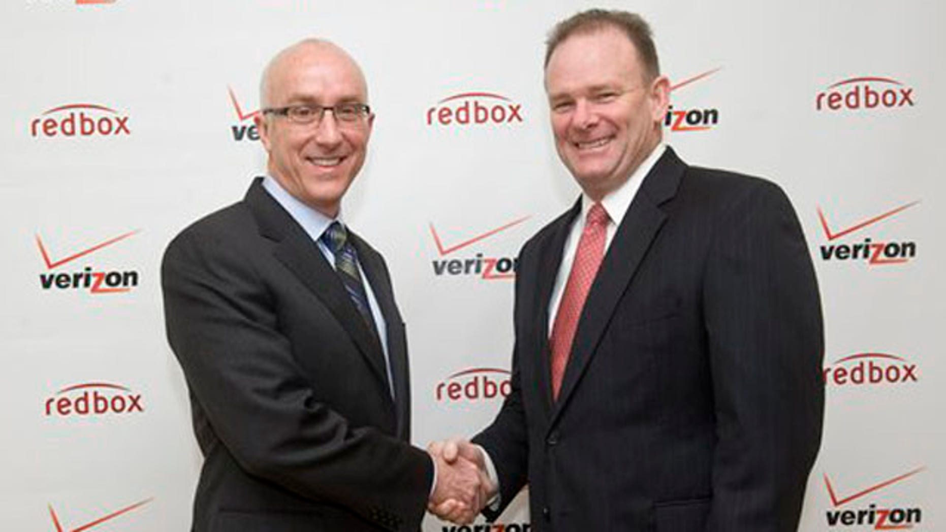 Feb. 6, 2012: Bob Mudge, right, president of Verizon Consumer and Mass Business Markets, and Paul Davis, CEO of Coinstar, Inc. announced in New York a joint venture that delivers a combination of Redbox entertainment options with an on-demand streaming service from Verizon, Inc.