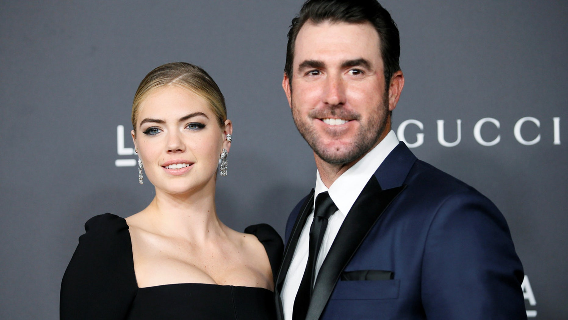 Kate Upton and Justin Verlander pose at the Los Angeles County Museum of Art (LACMA) Art+Film Gala, Oct. 29, 2016.