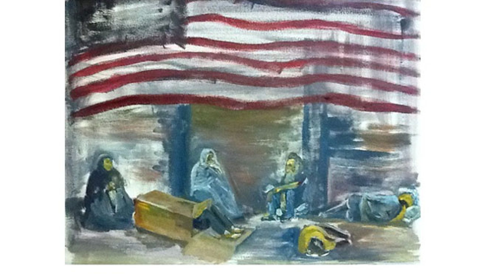 "This 20""x16"" painting by Wendi Boggs, titled ""Unconscionable,"" depicts the problem of homelessness among veterans. Boggs, an art therapist, served in the U.S. Air Force from 1984 to 1990."