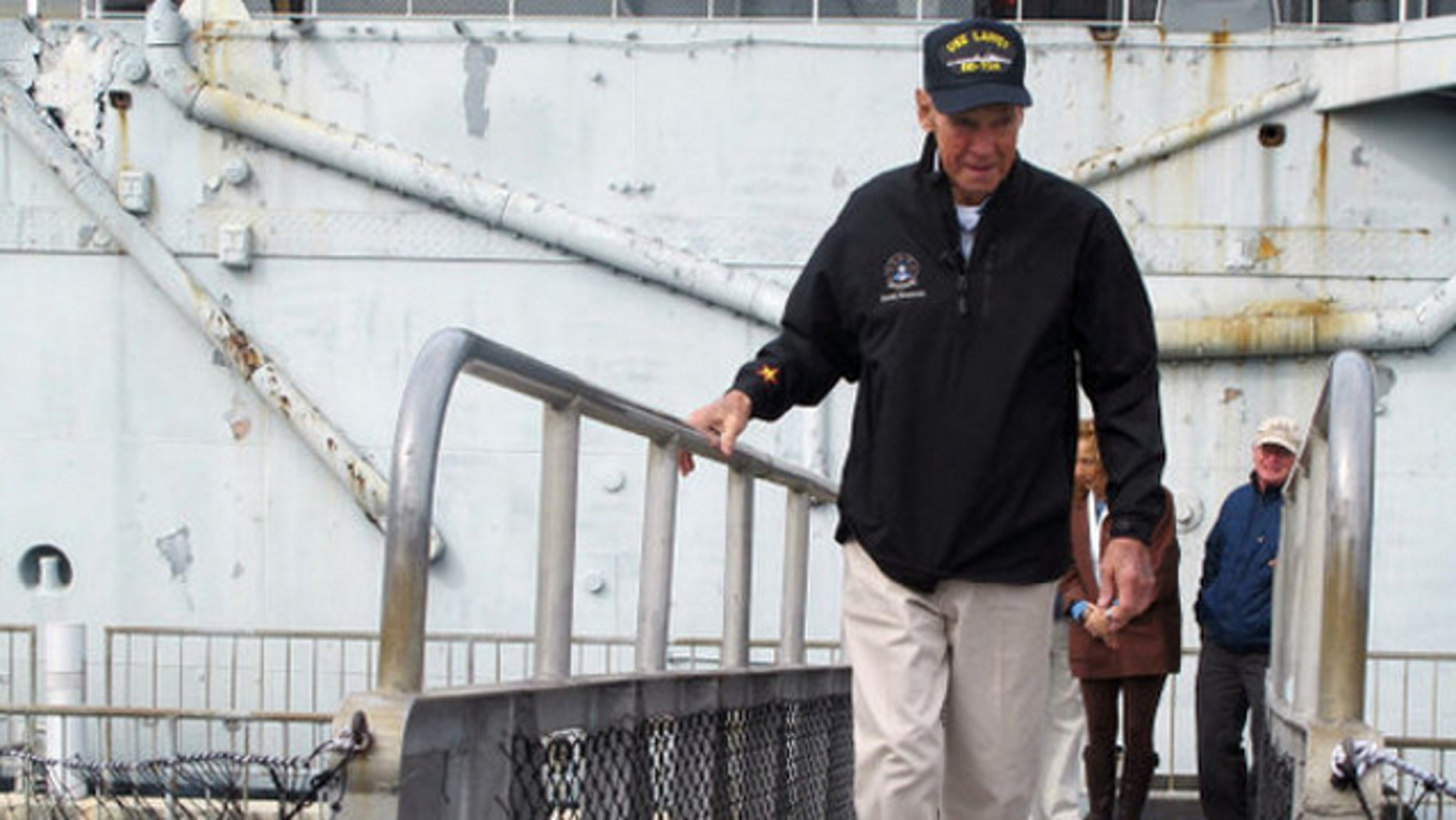 Gerald Bowman, 82, boards the USS Laffey in Mount Pleasant, S.C.