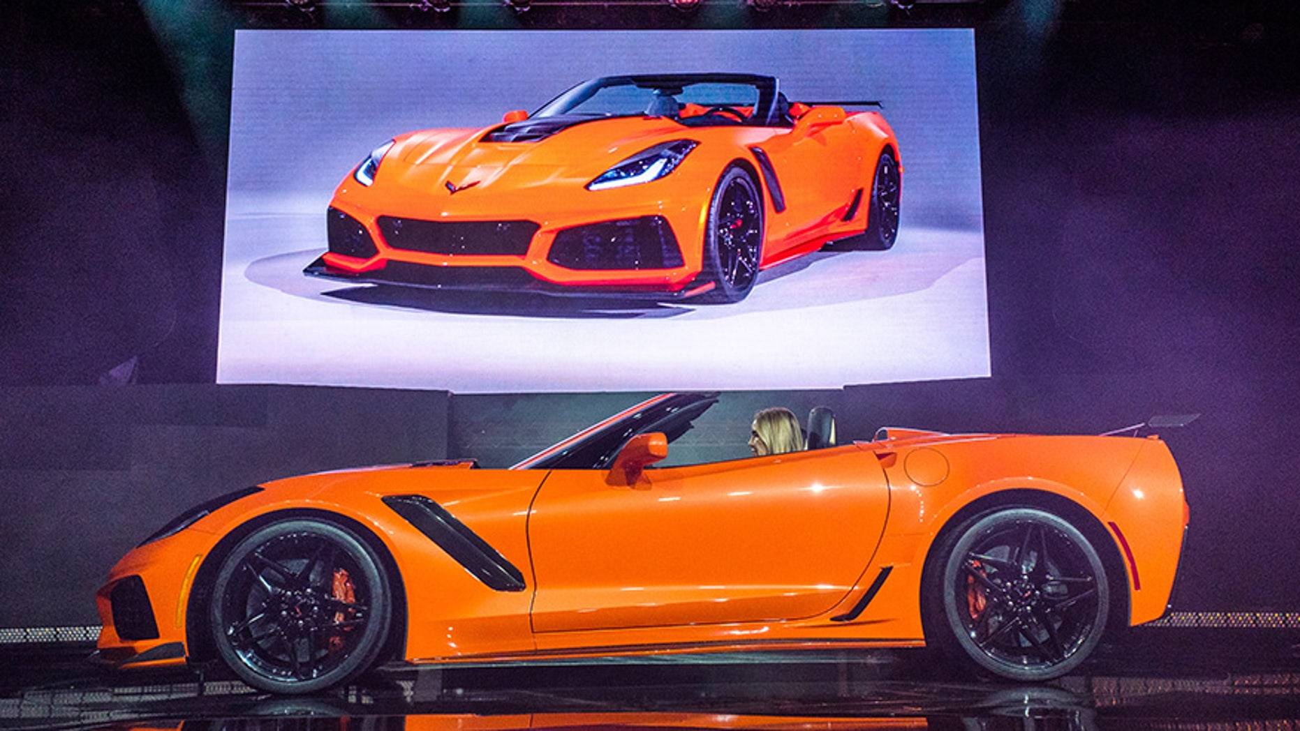 The 2019 Corvette ZR1 Convertible makes its world debut Tuesday, November 28, 2017 in Los Angeles, California. The Corvette ZR1's unique aero package is central to the coupe's 212-mph top speed generated by the 755 horsepower LT5 6.2L supercharged engine. The ZR1 convertible will start at $123,995 and will go on sale in the spring of 2018. (Photo by Steve Fecht for Chevrolet)
