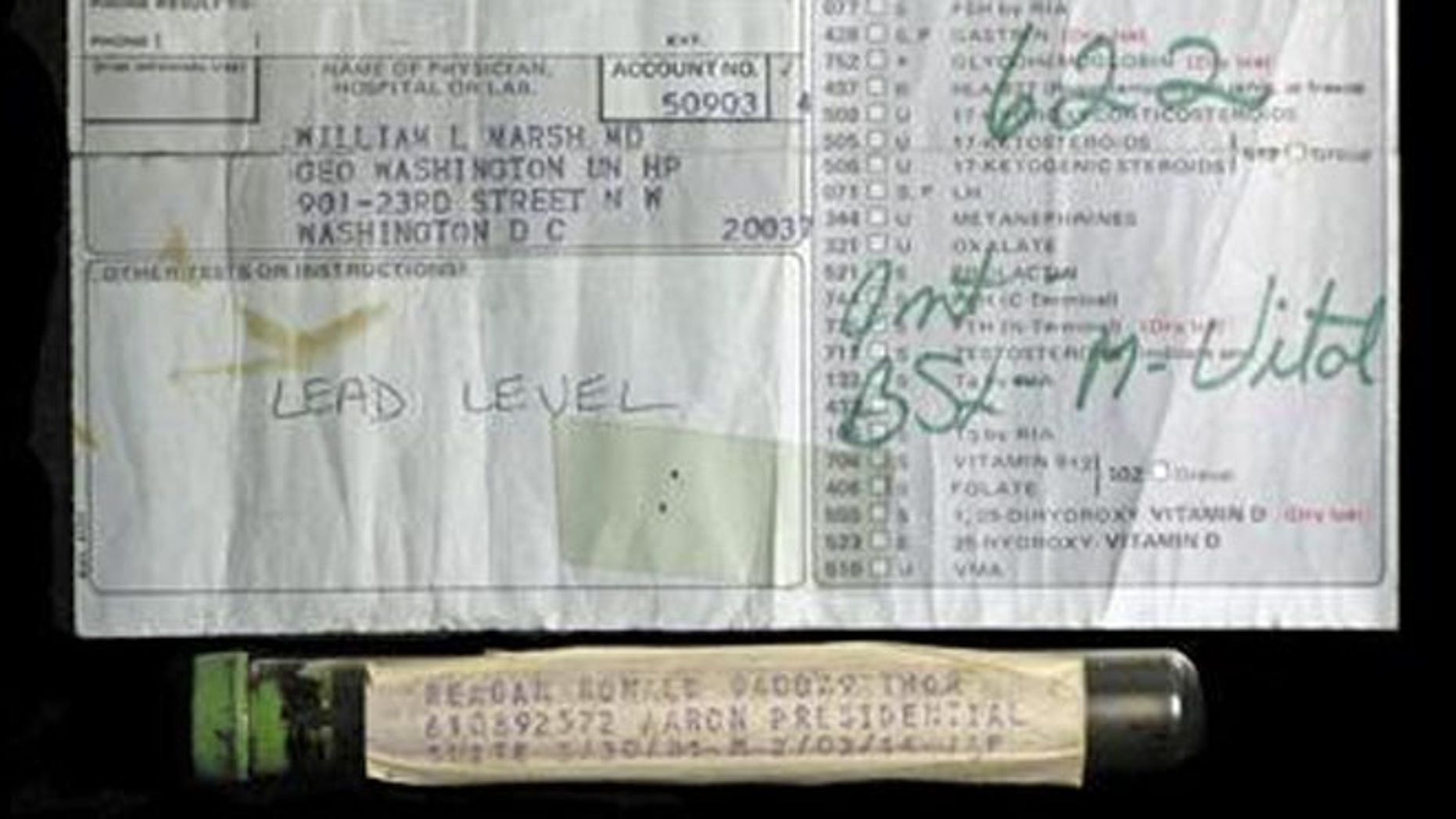 Shown here is a vial purportedly containing the late President Ronald Reagan's blood, as well as a lab slip.