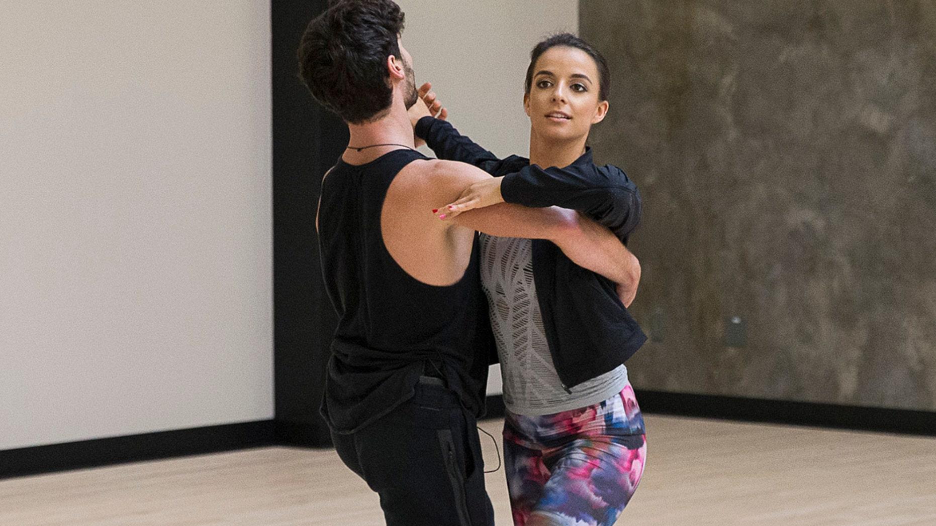 """Victoria Arlen practices her dance routine with her """"DWTS"""" partner Valentin Chmerkovskiy."""