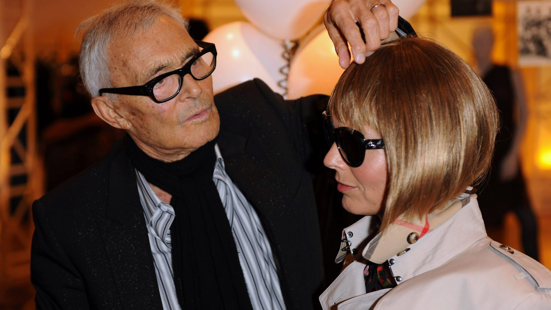 LONDON, ENGLAND - SEPTEMBER 08: Vidal Sassoon attends his autobiography signing with an Anna