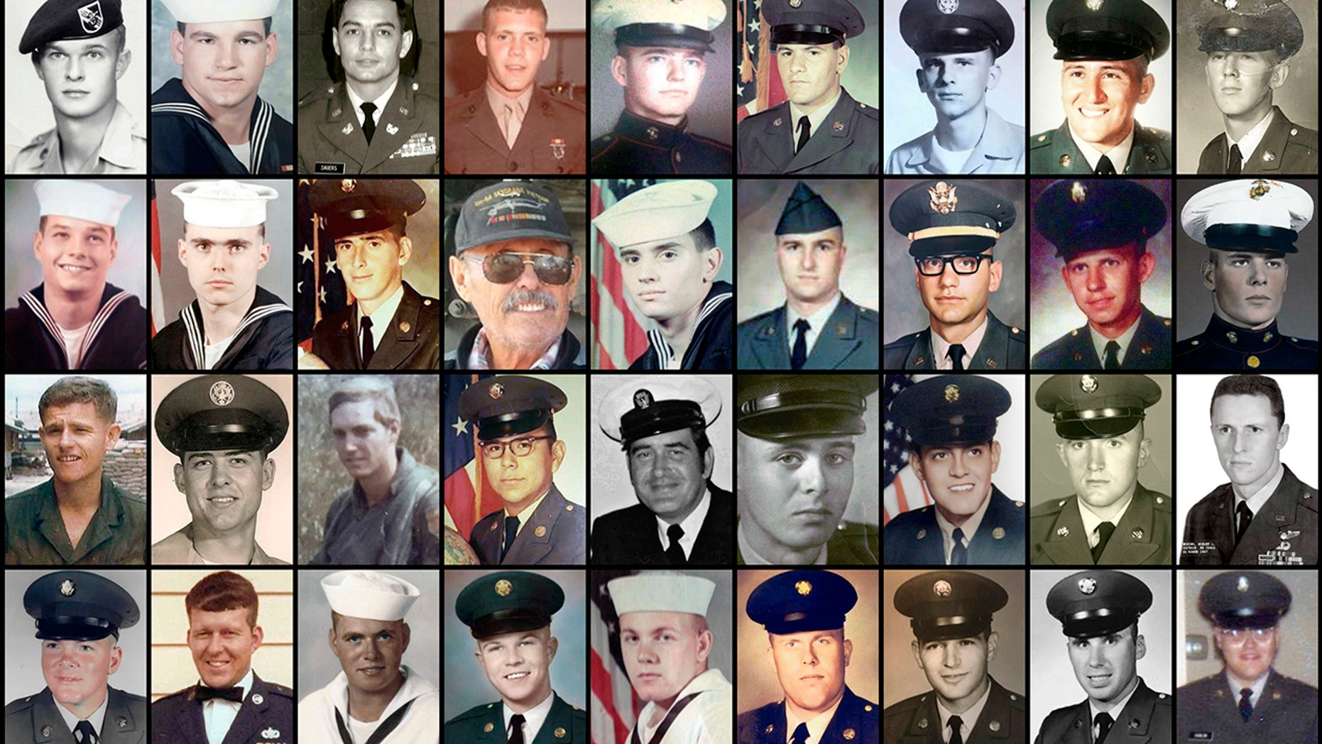 This combination of file photos provided by their families shows some of the hundreds of U.S. veterans of the Vietnam War who suffered from cholangiocarcinoma, a rare bile duct cancer believed to be linked to liver fluke parasites in raw or poorly cooked river fish.