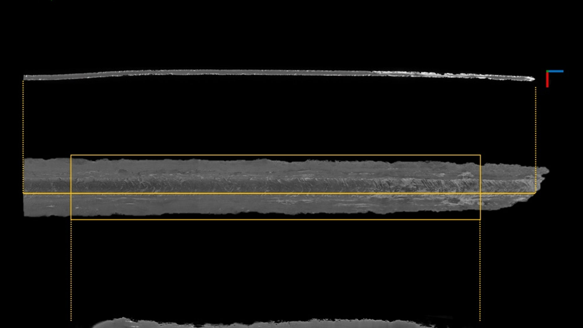 Researchers analyzed three Viking swords: The orange rectangle shows the area investigated. The center image is a 3D rendering created from scans of the sword, with corrosion shown in white.