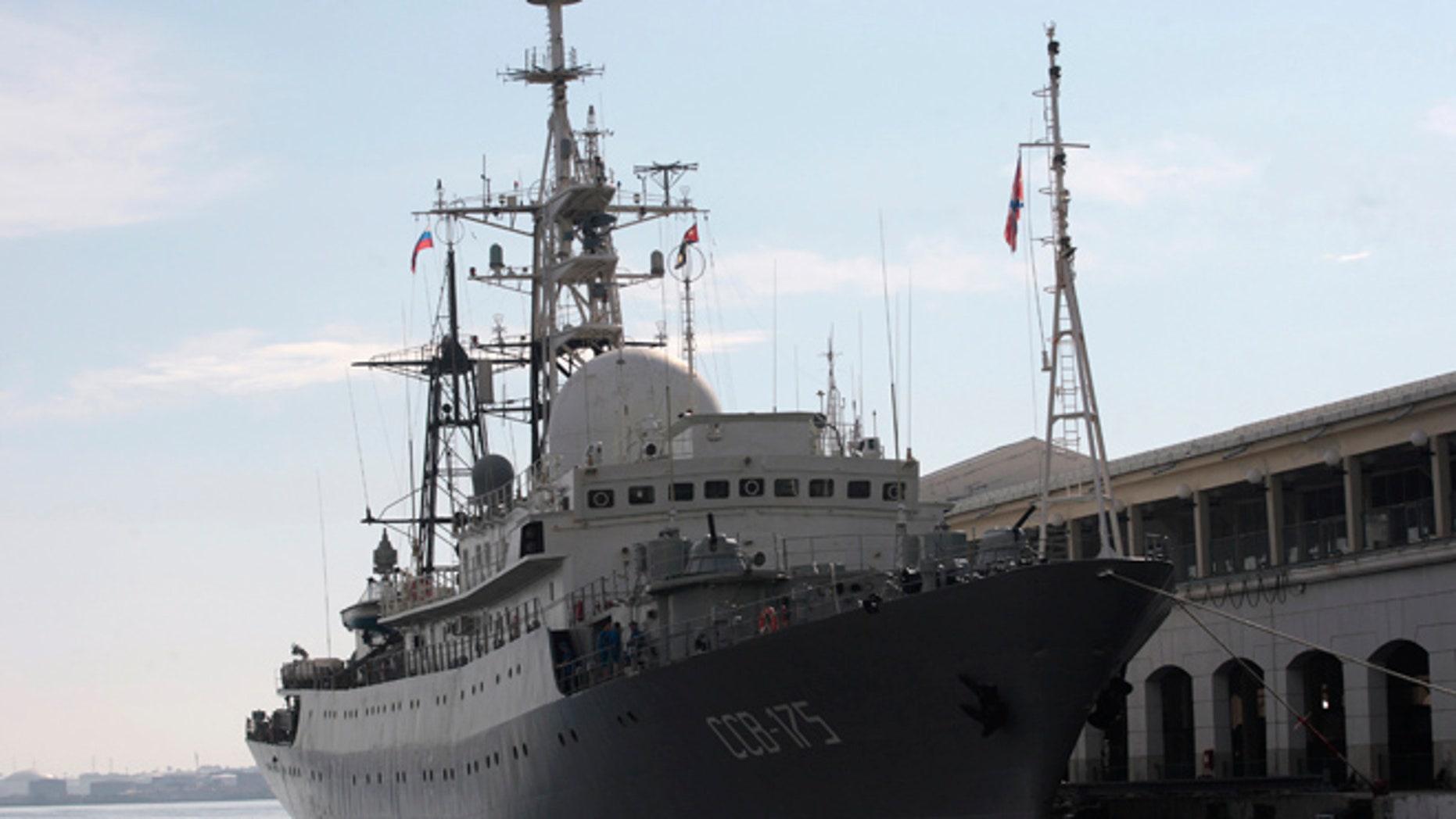 The Russian spy ship Viktor Leonov in 2014.