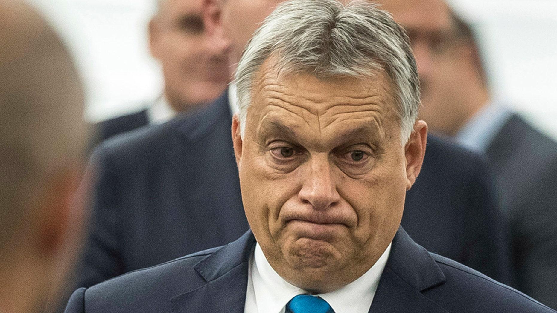 Hungary's Prime Minister Viktor Orban at the European Parliament in Strasbourg, eastern France, Sept.11, 2018.