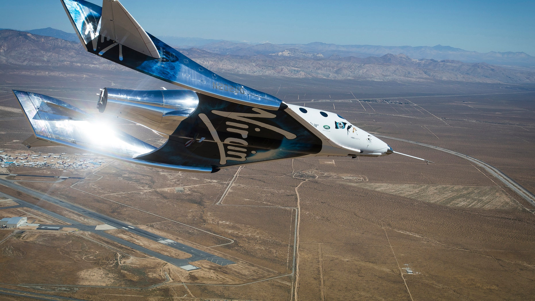 Virgin Galactic's spaceship Unity flies freely over the Mojave Air and Space Port in California during a May 1, 2017 test flight.