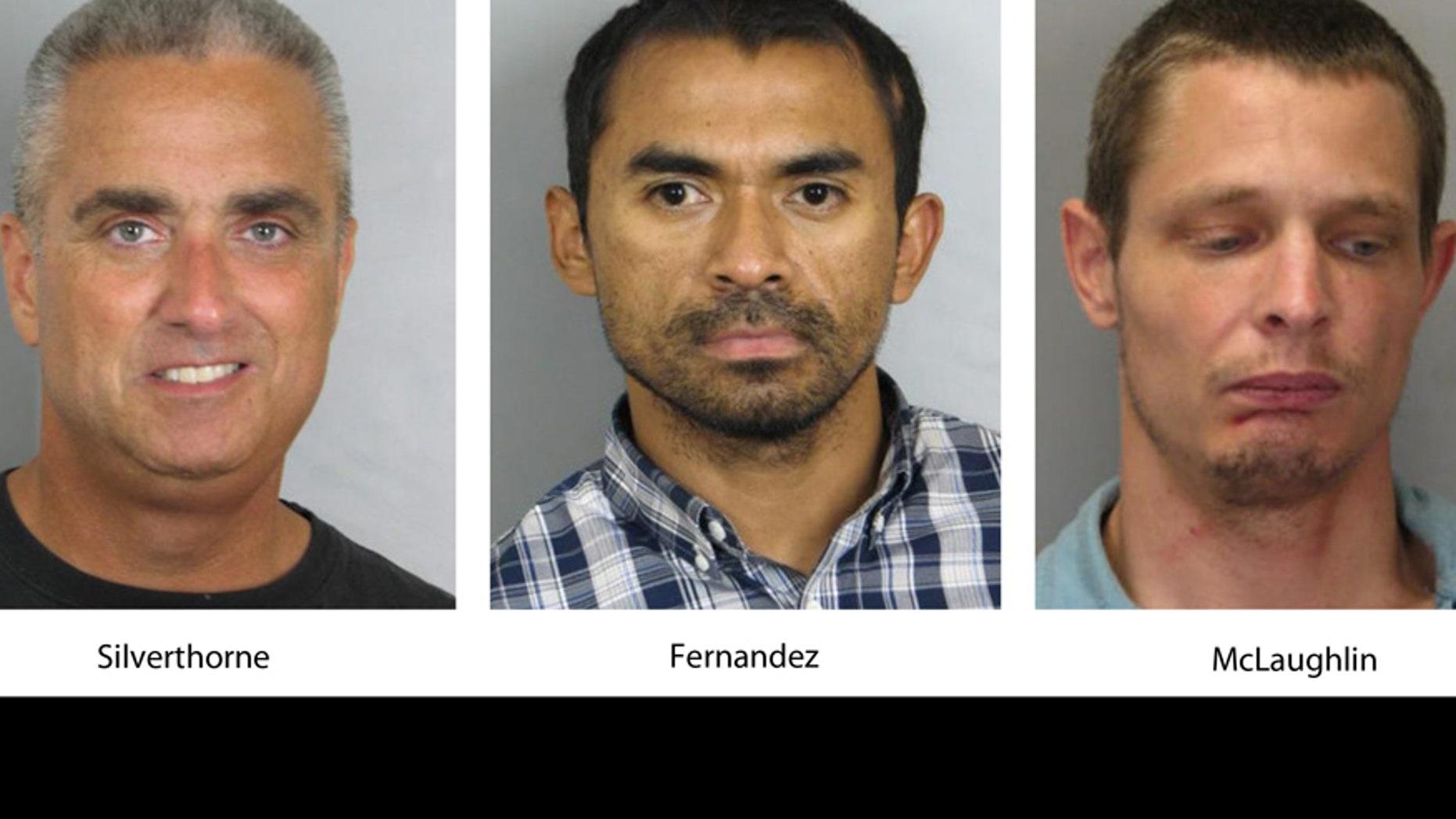 City of Fairfax Mayor Richard Scott Silverthorne, Juan Jose Fernandez, 34, and Caustin Lee McLaughlin, 21. (Fairfax County, Va., Police Department via AP)