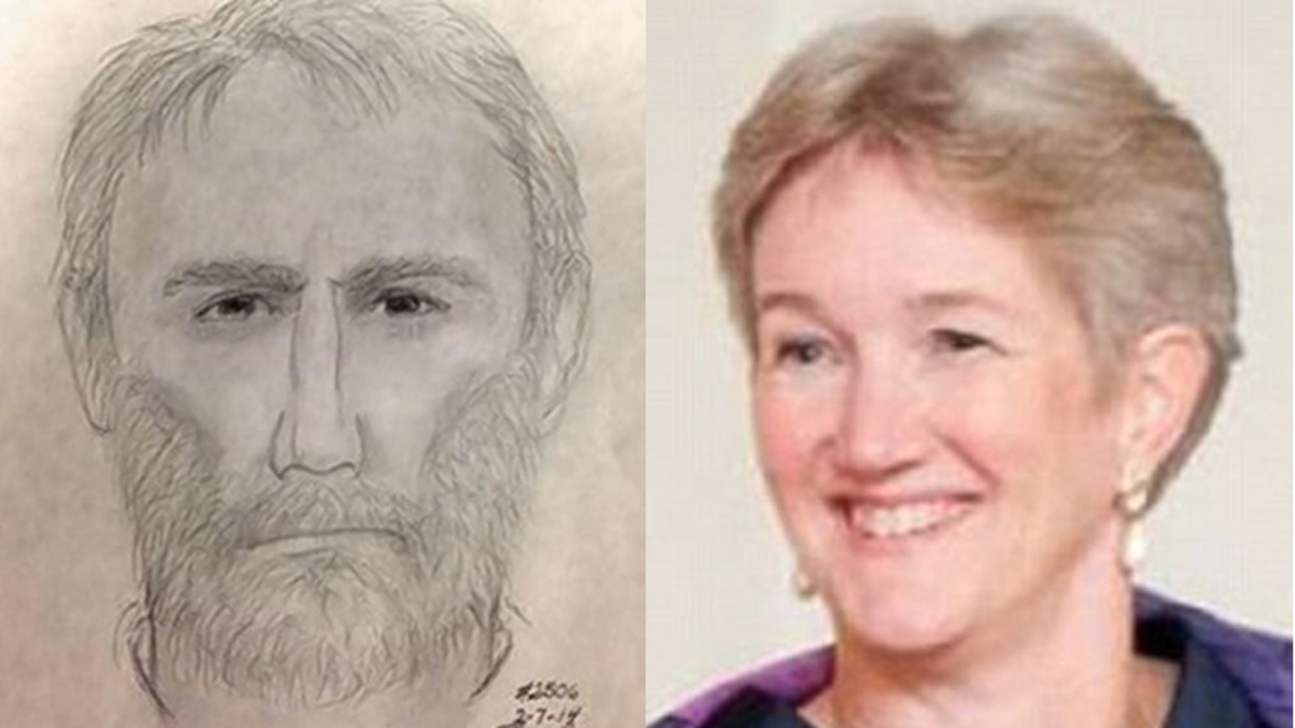 Police released a sketch, left, of a man who shot and killed Virginia piano teacher Ruthanne Lodato, right, when she answered a knock at her front door Thursday at her home in Alexandria, Va.