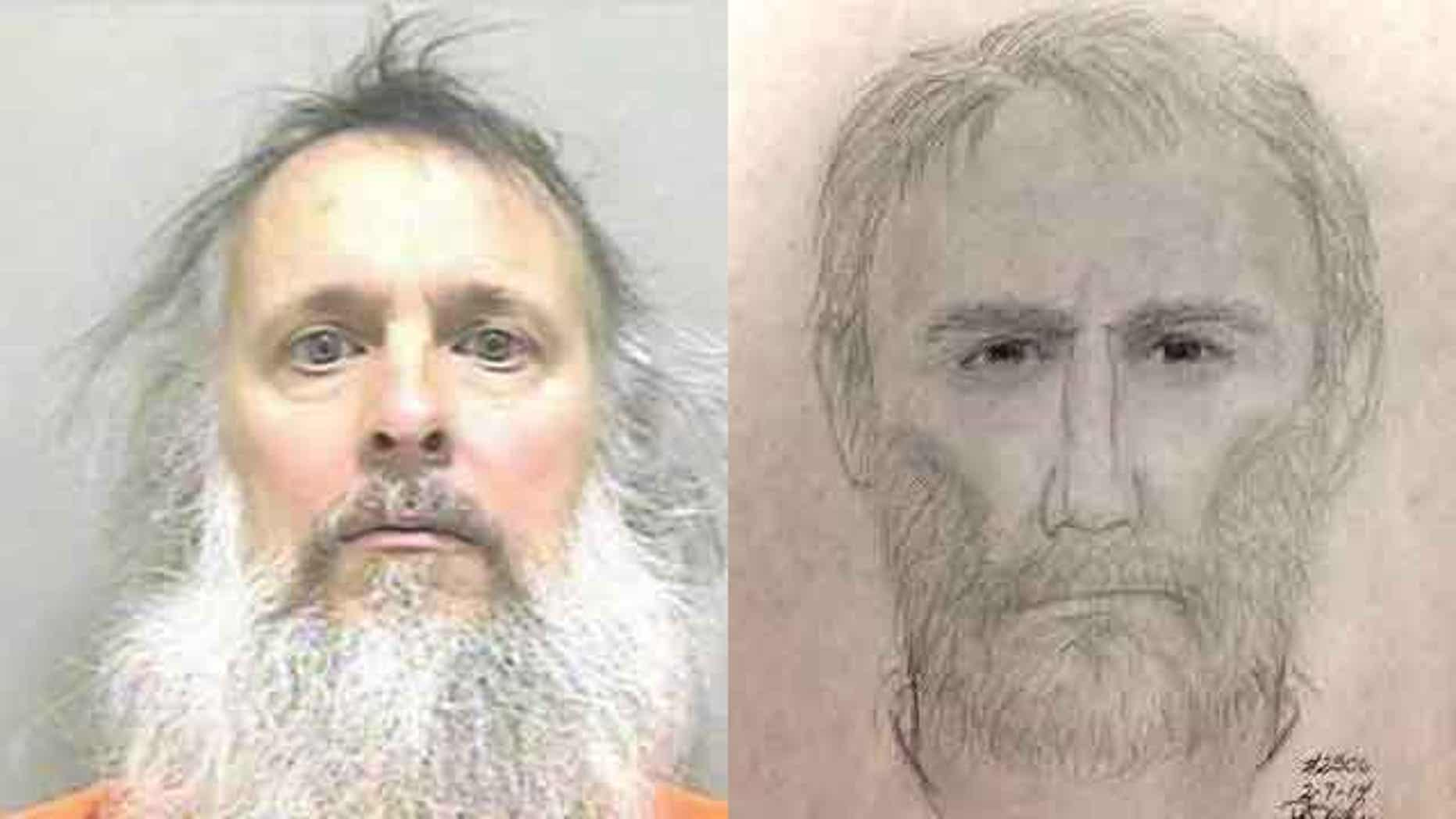 Charles Severance (L) was arrested in West Virginia on Thursday. On the right is the sketch of the suspect in the most recent of three unsolved murders in Alexandria.