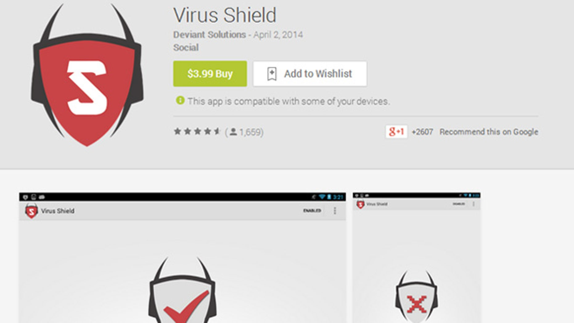An Android security website says one of the top selling apps on Google's Play store, Virus Shield, is nothing but a fake.